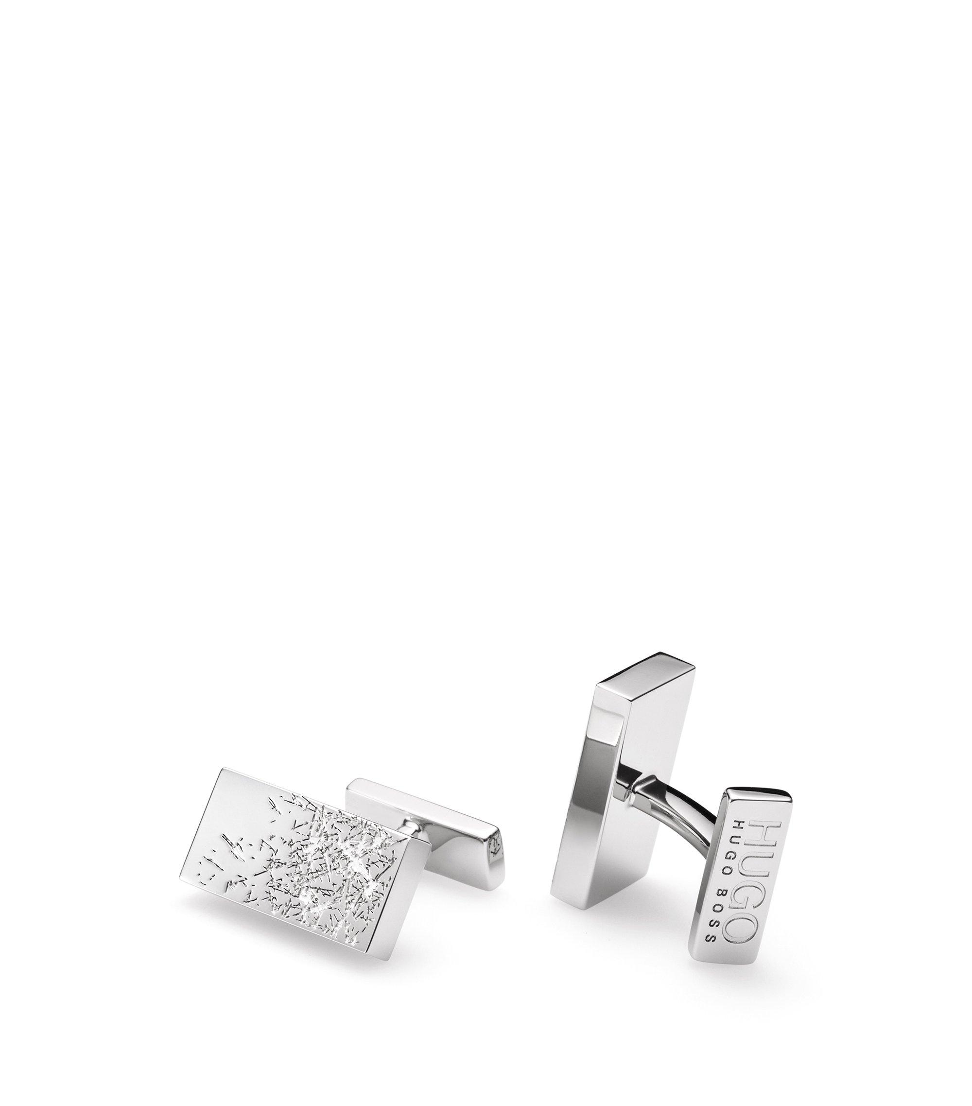 Rechthoekige manchetknopen van messing met krasaccenten, Zilver