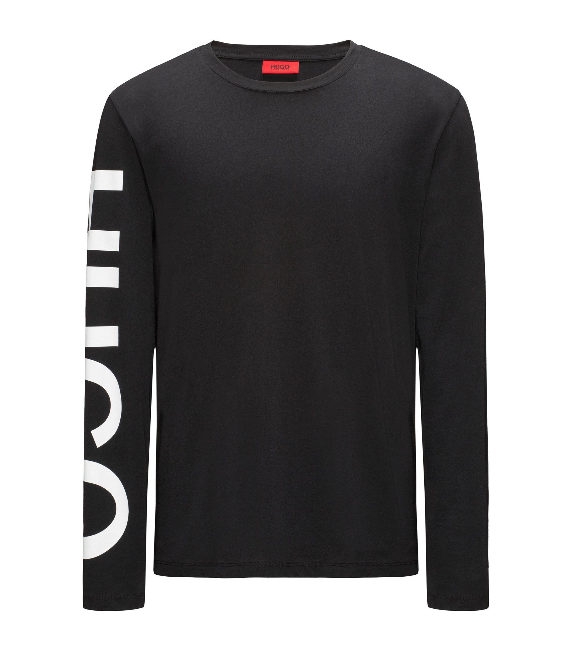 Logo-sleeve T-shirt in cotton jersey, Black