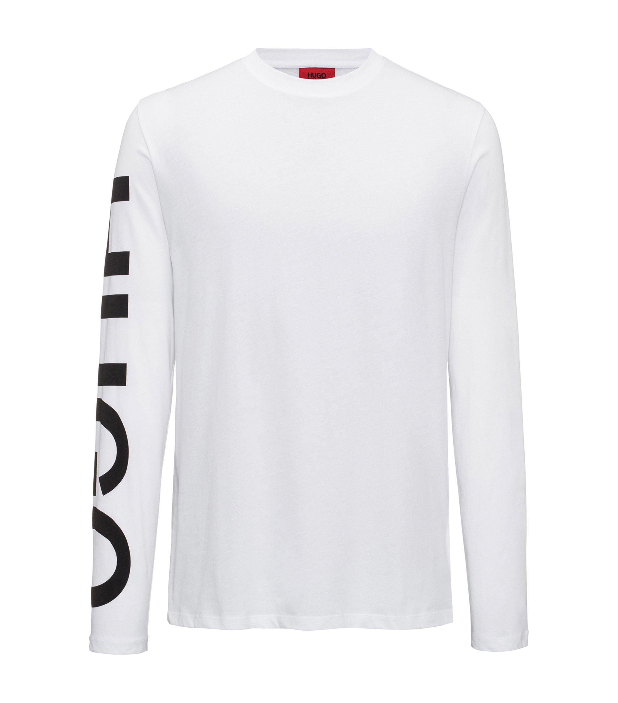 Camiseta con logo en la manga en punto de algodón, Blanco