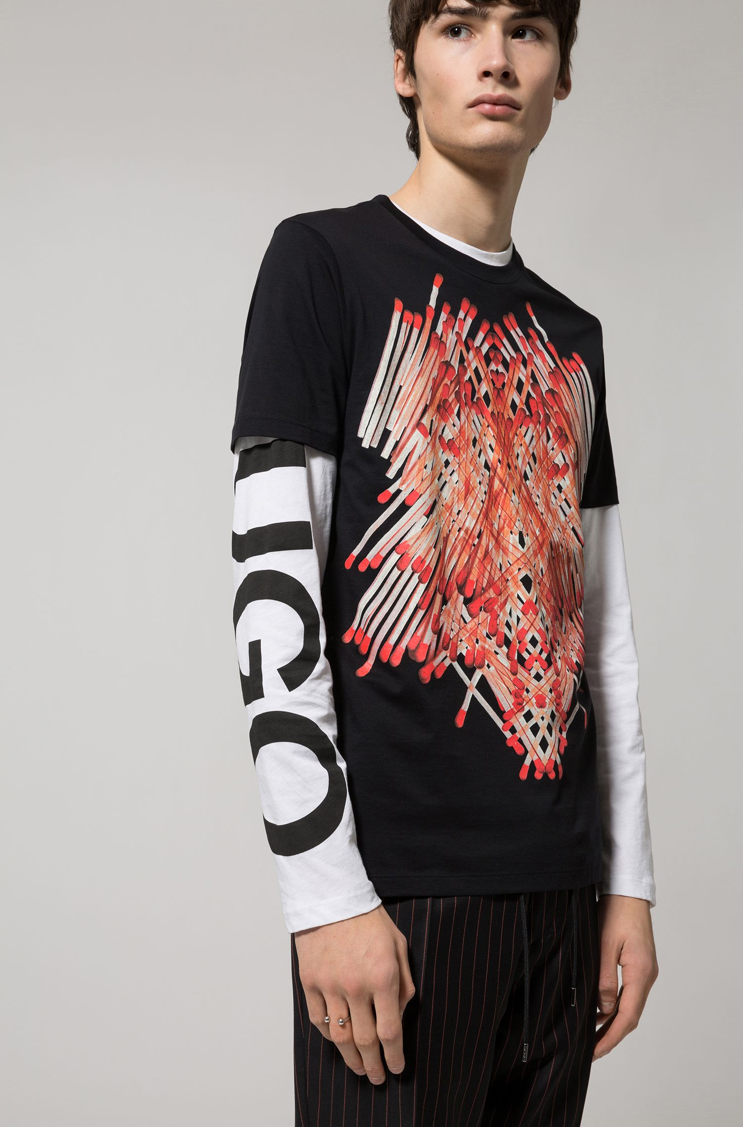 T-shirt en jersey de coton avec logo sur une manche