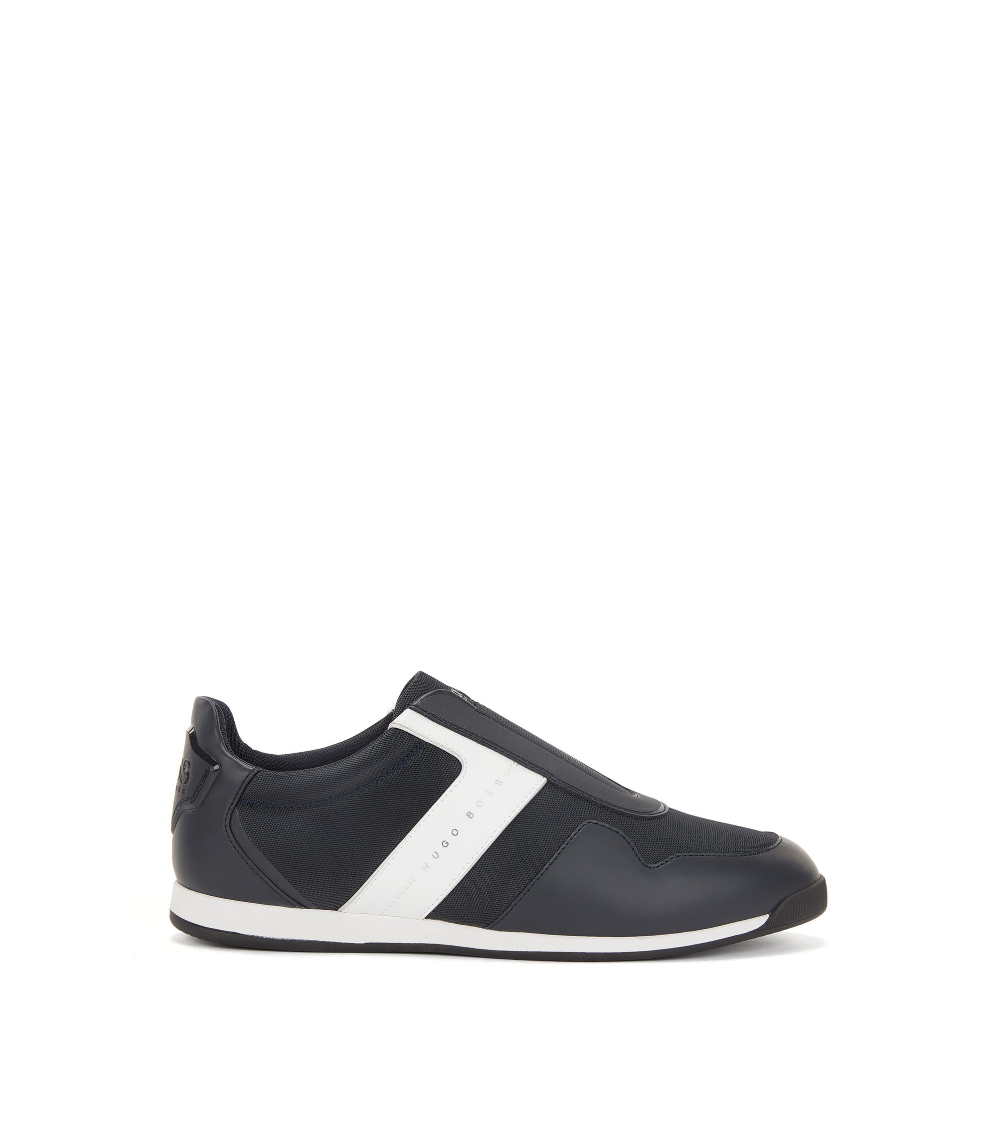 Sneakers slip-on con dettagli in rete, Blu scuro