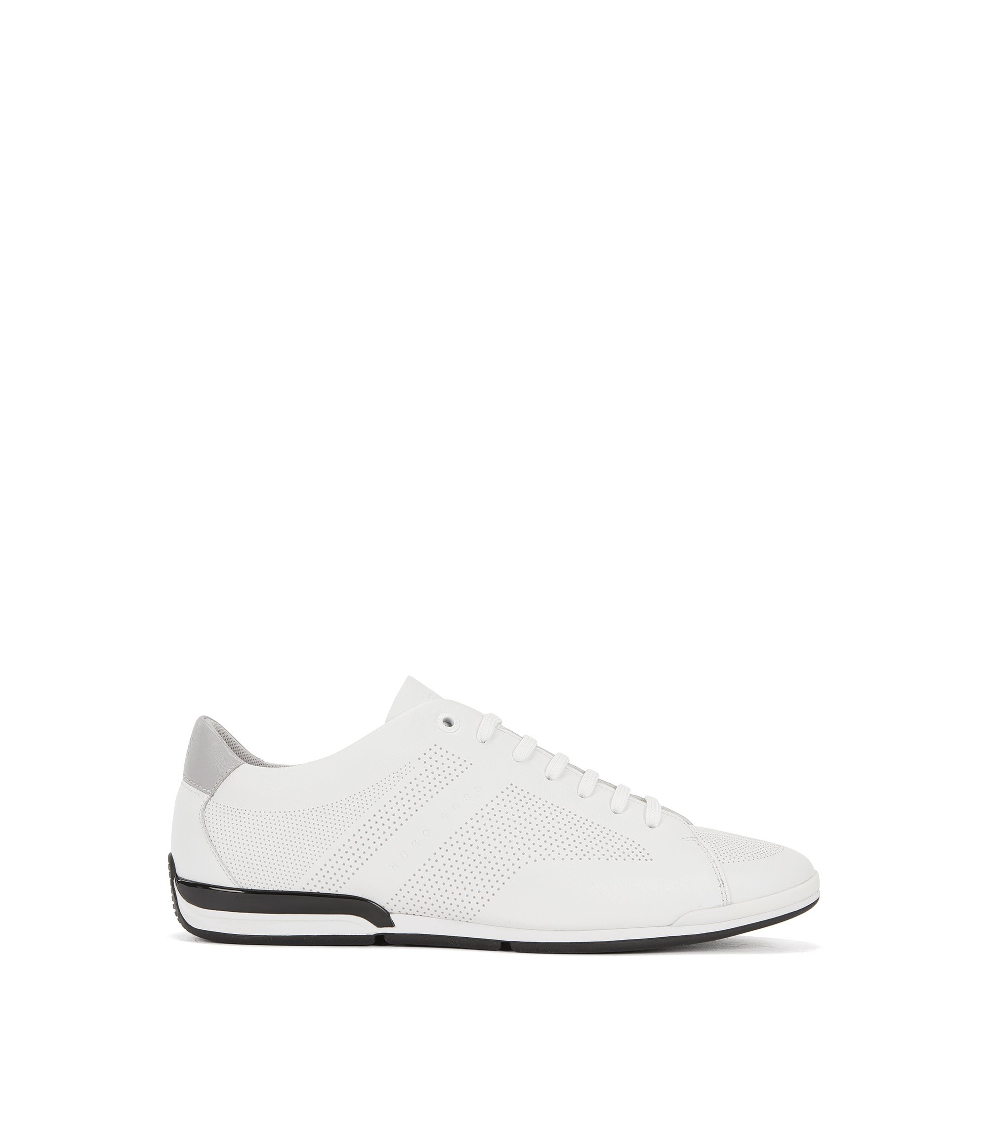 Low-top lace-up trainers in nappa leather, White