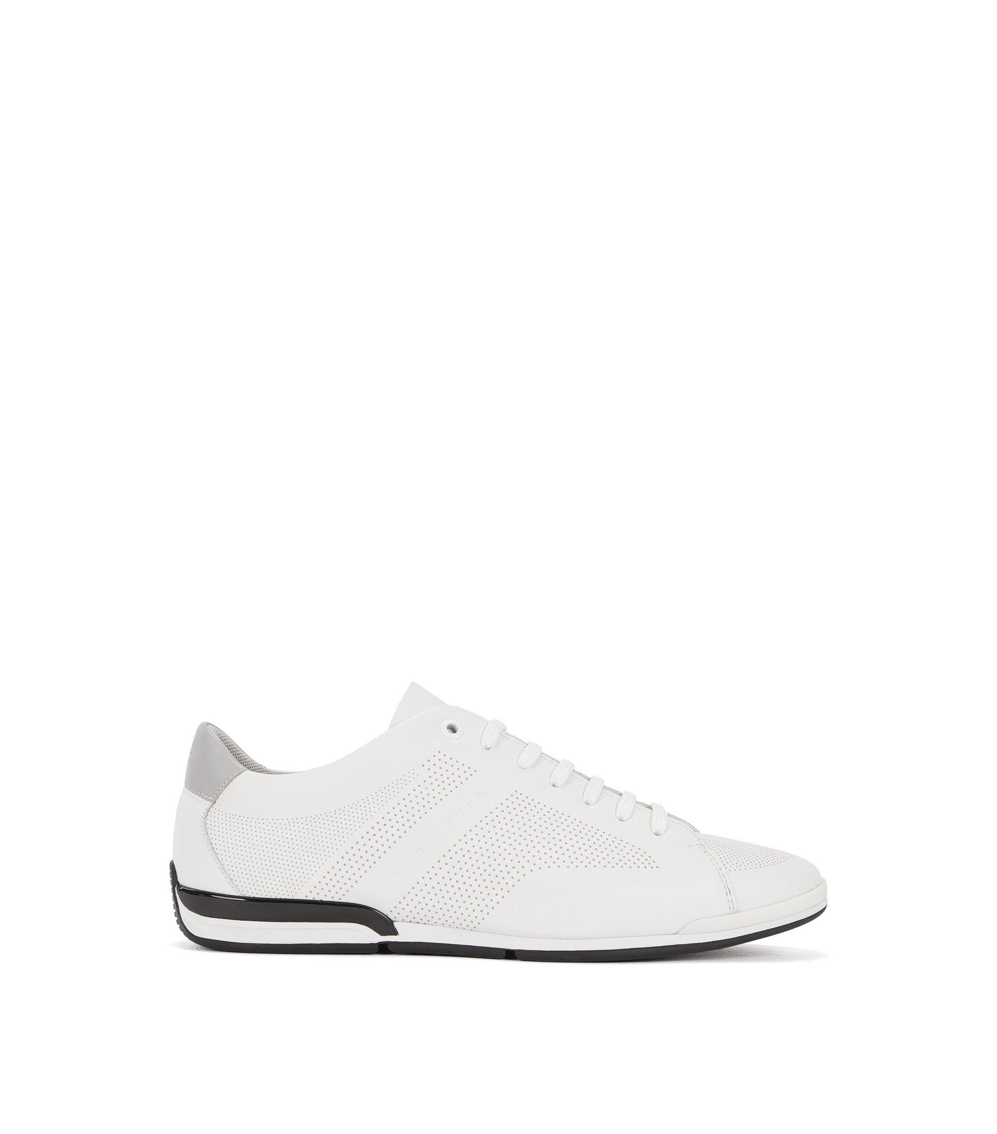 Sneakers aus Nappaleder mit Schnürung, Weiß