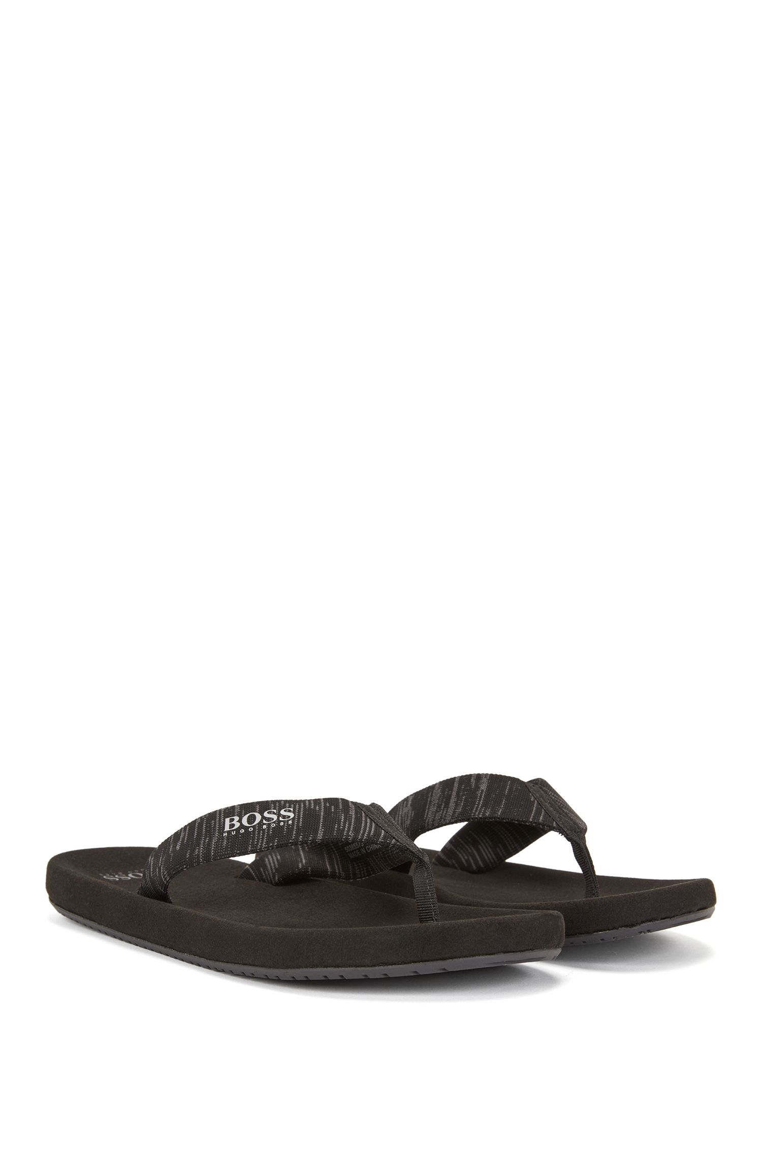 Toe-post flip-flops with knitted jacquard straps