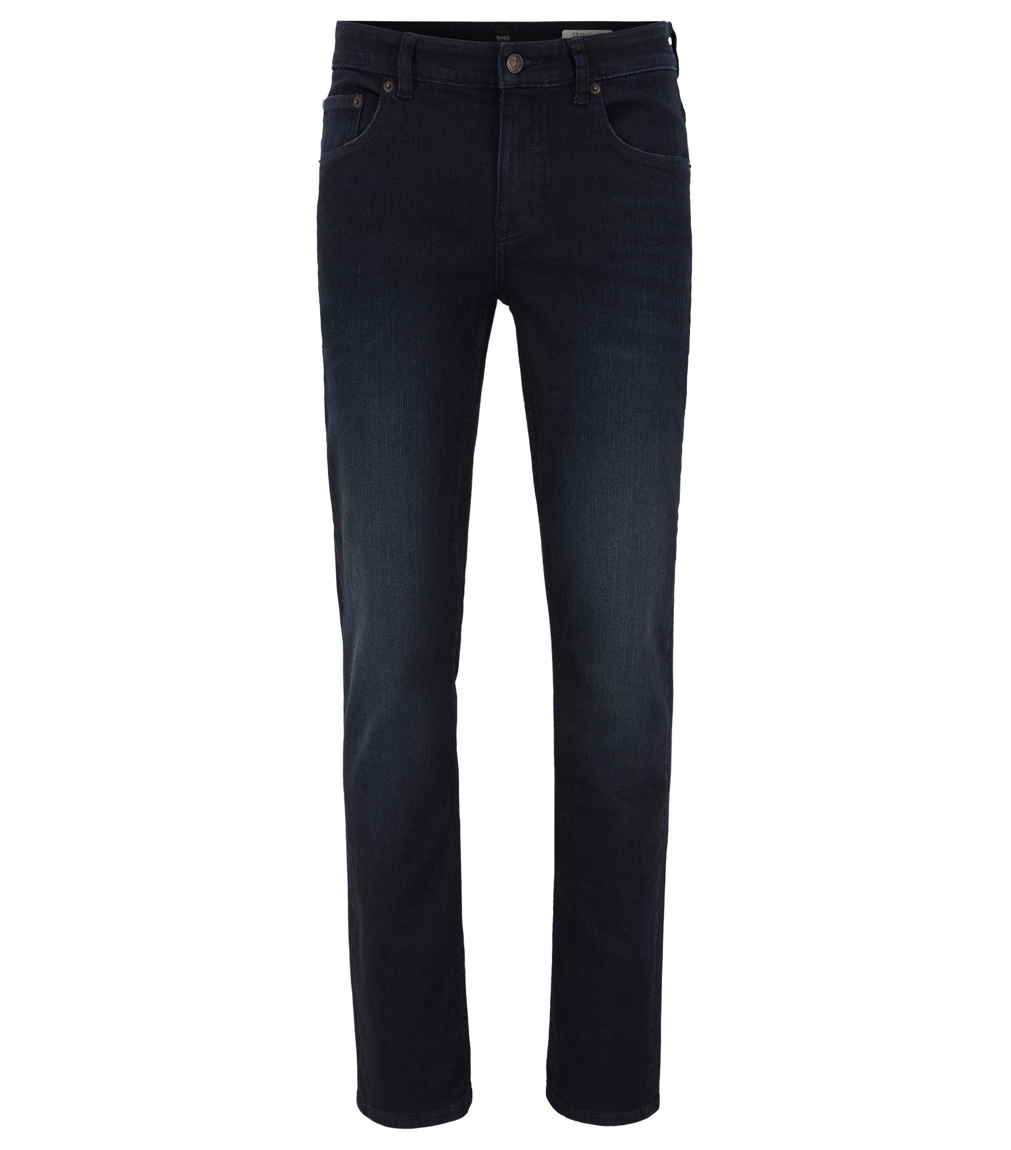 Jean Slim Fit en denim super stretch au look délavé , Bleu foncé