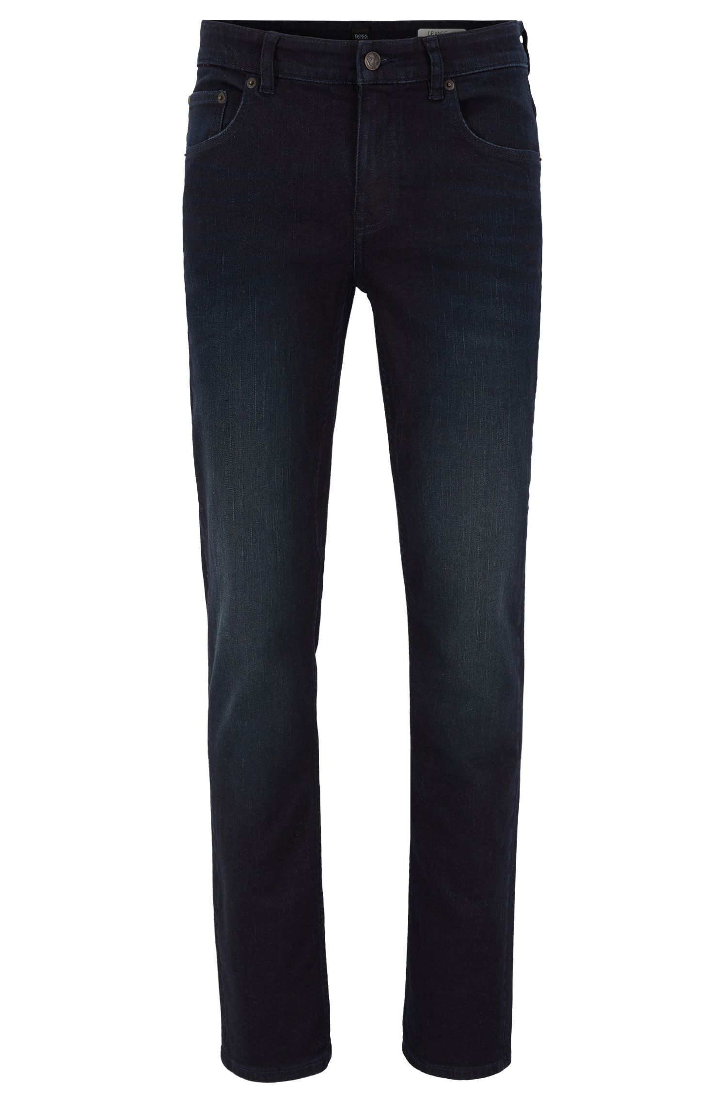 Slim-fit jeans in distressed super-stretch denim BOSS