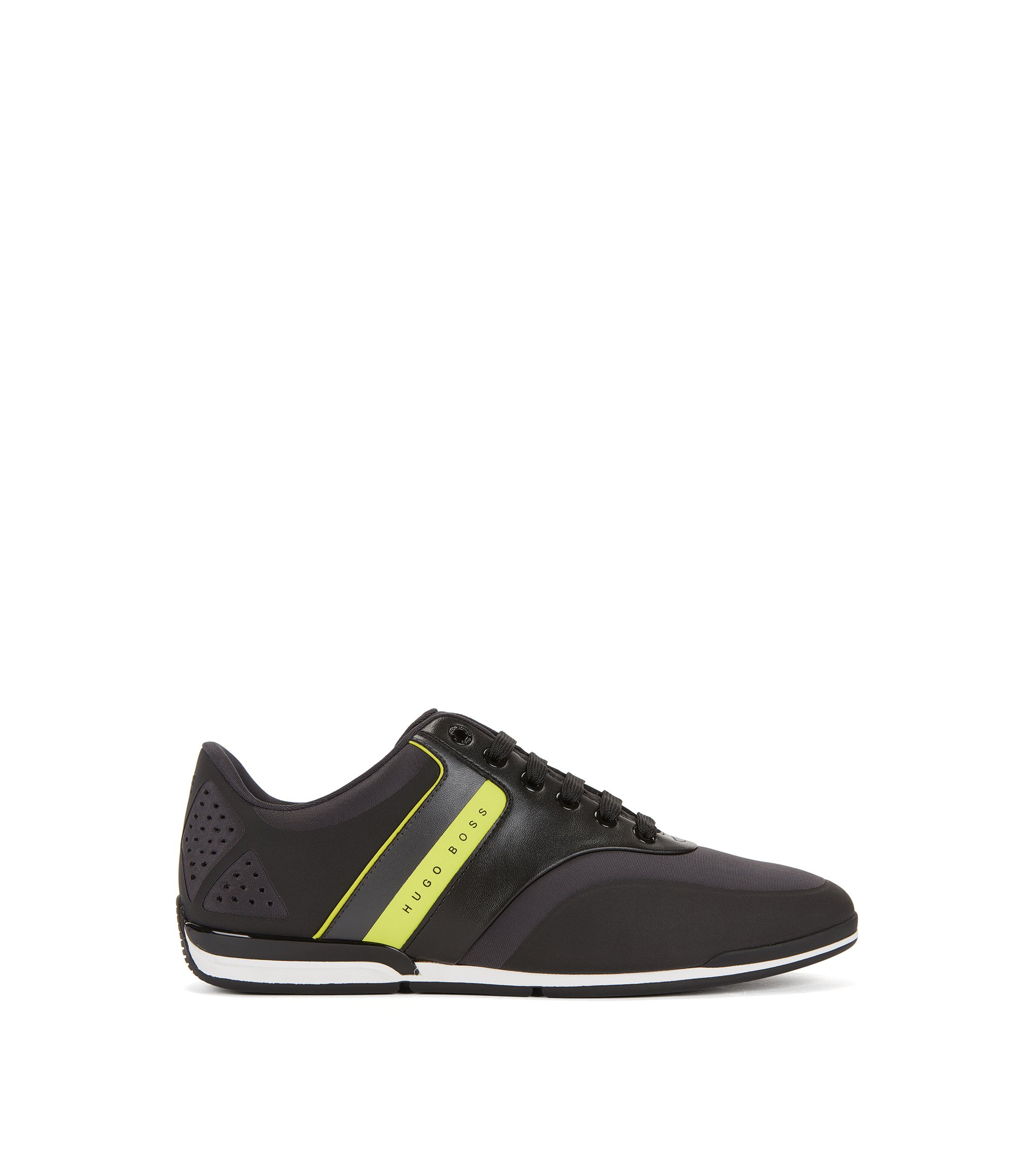 Low-top striped neoprene trainers, Dark Grey