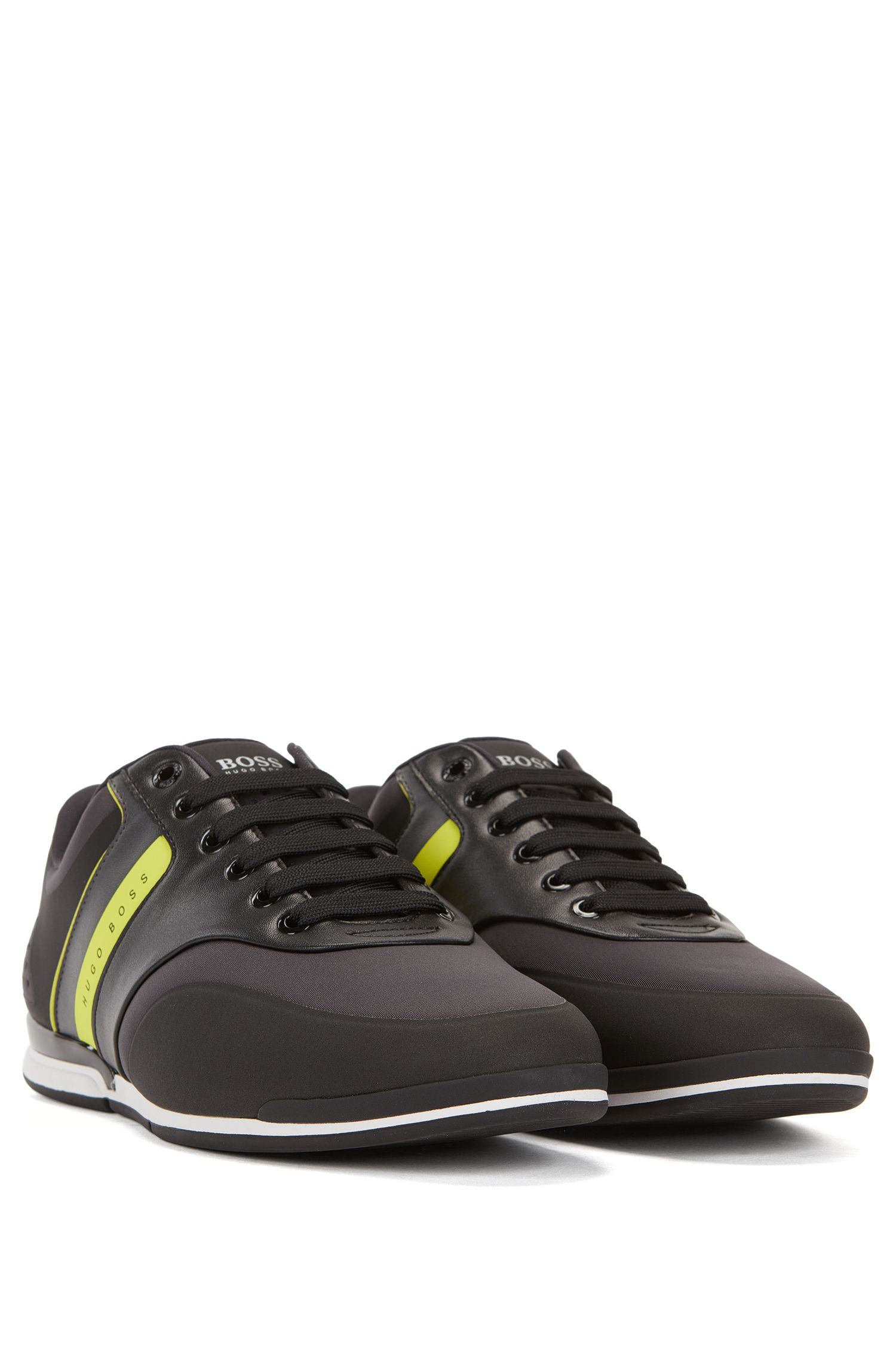 Low-top striped neoprene trainers