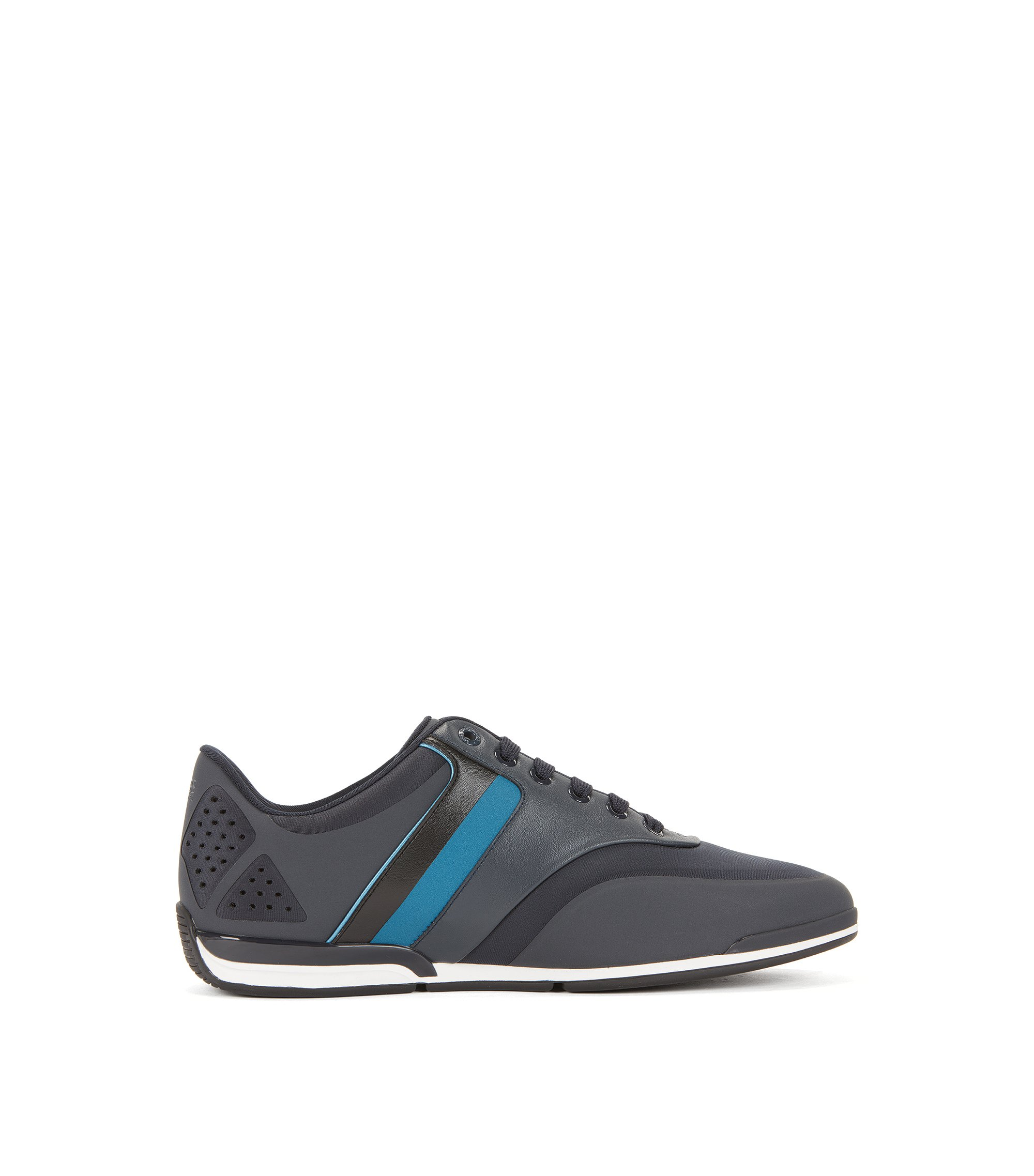 Low-top striped neoprene trainers, Dark Blue