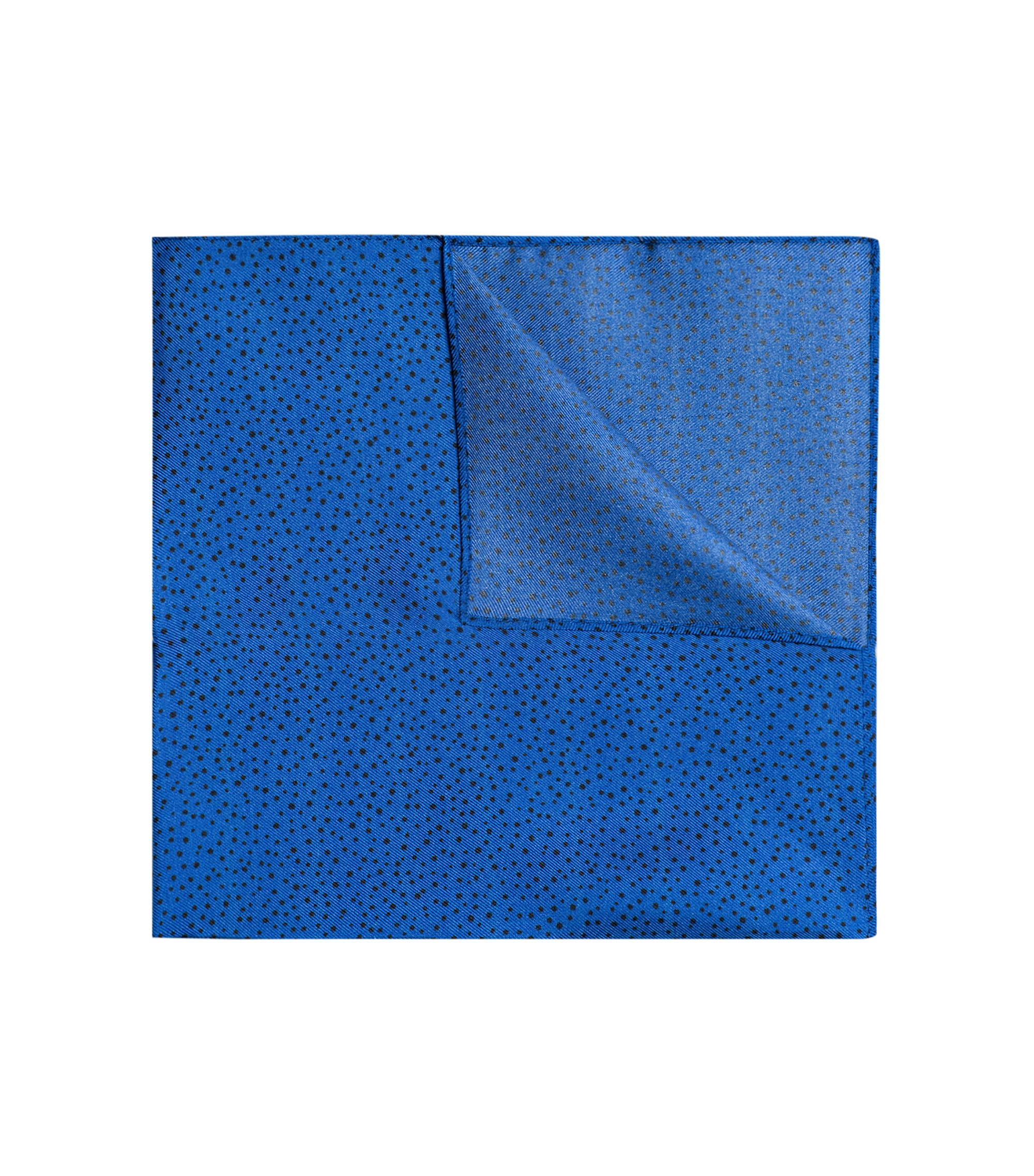 Silk-twill pocket square with printed dots, Blue