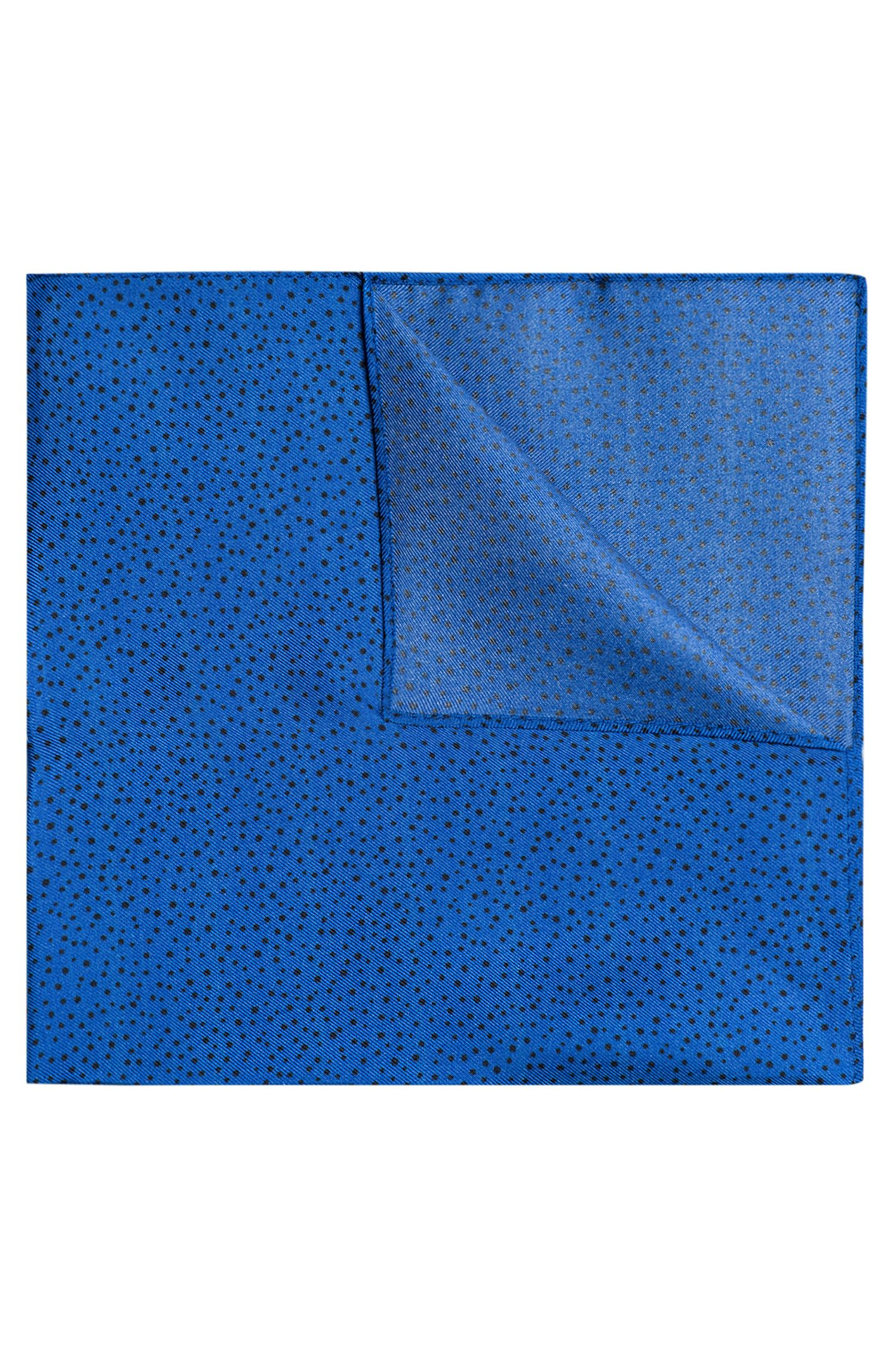 Silk-twill pocket square with printed dots