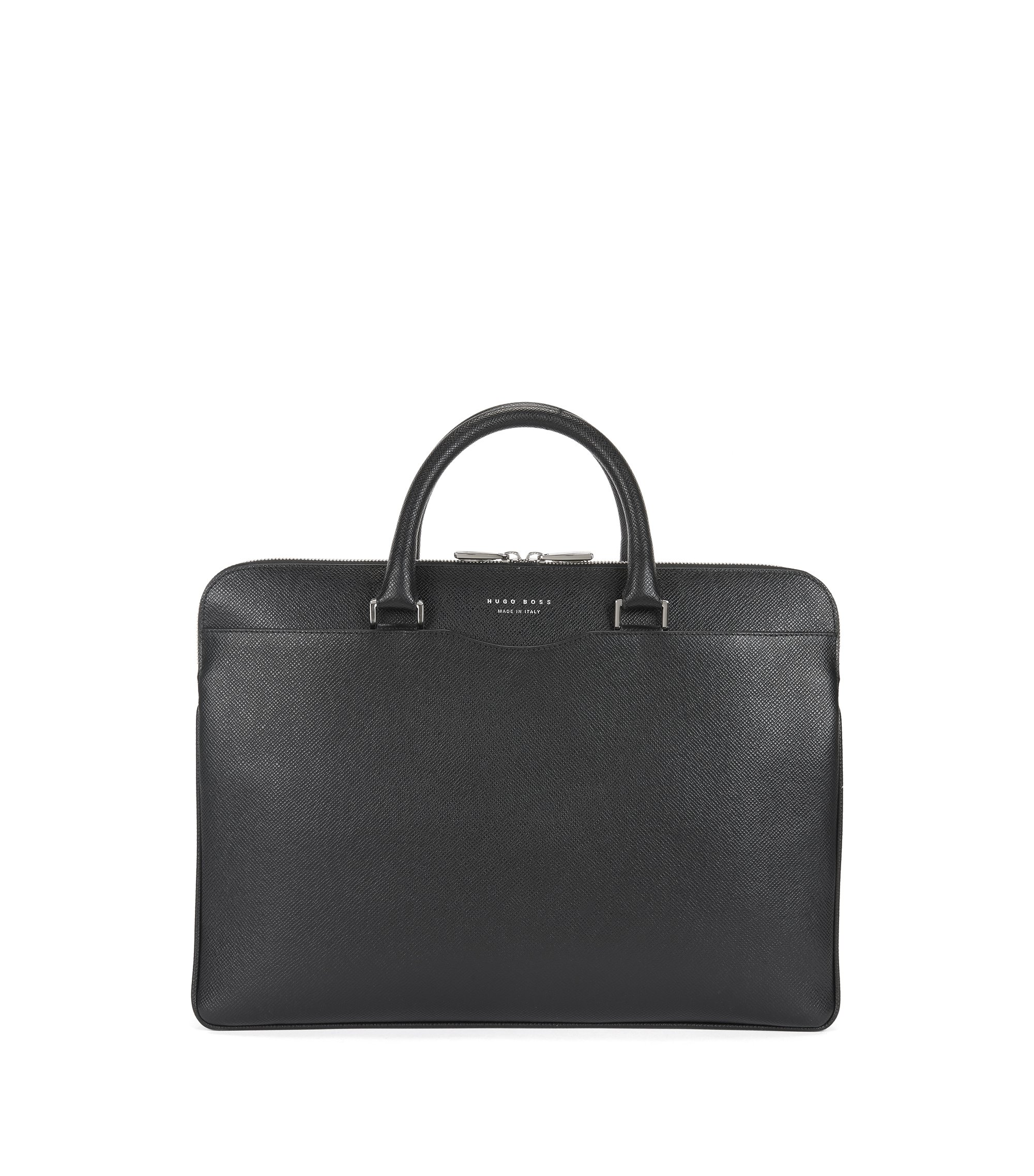 Signature Collection document case in embossed palmellato leather, Black