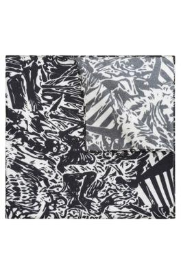 Pañuelo de bolsillo en sarga de seda con estampado de esqueletos hawaianos, Negro