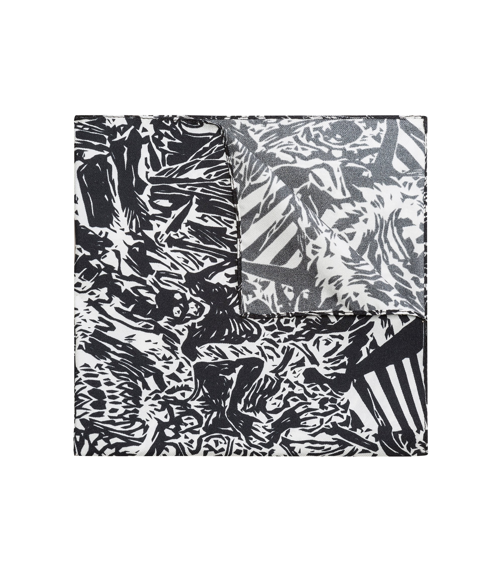 Hawaiian skeletons printed pocket square in silk twill, Black