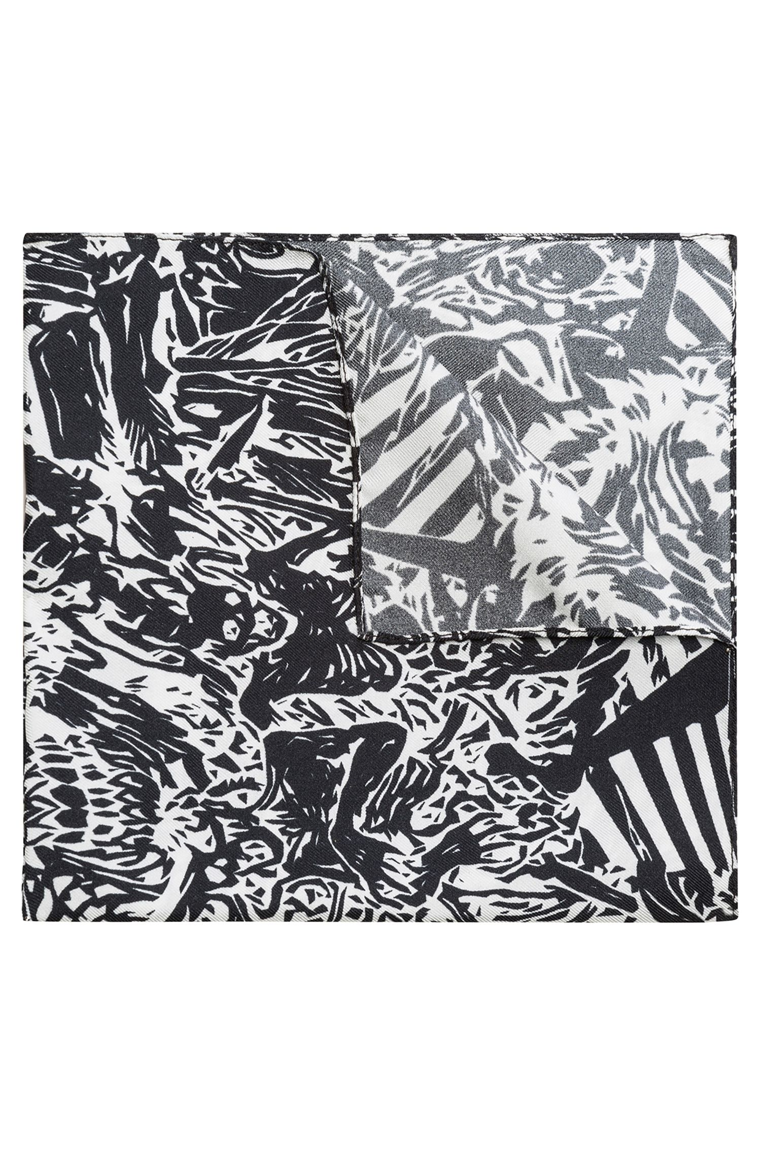 Hawaiian skeletons printed pocket square in silk twill