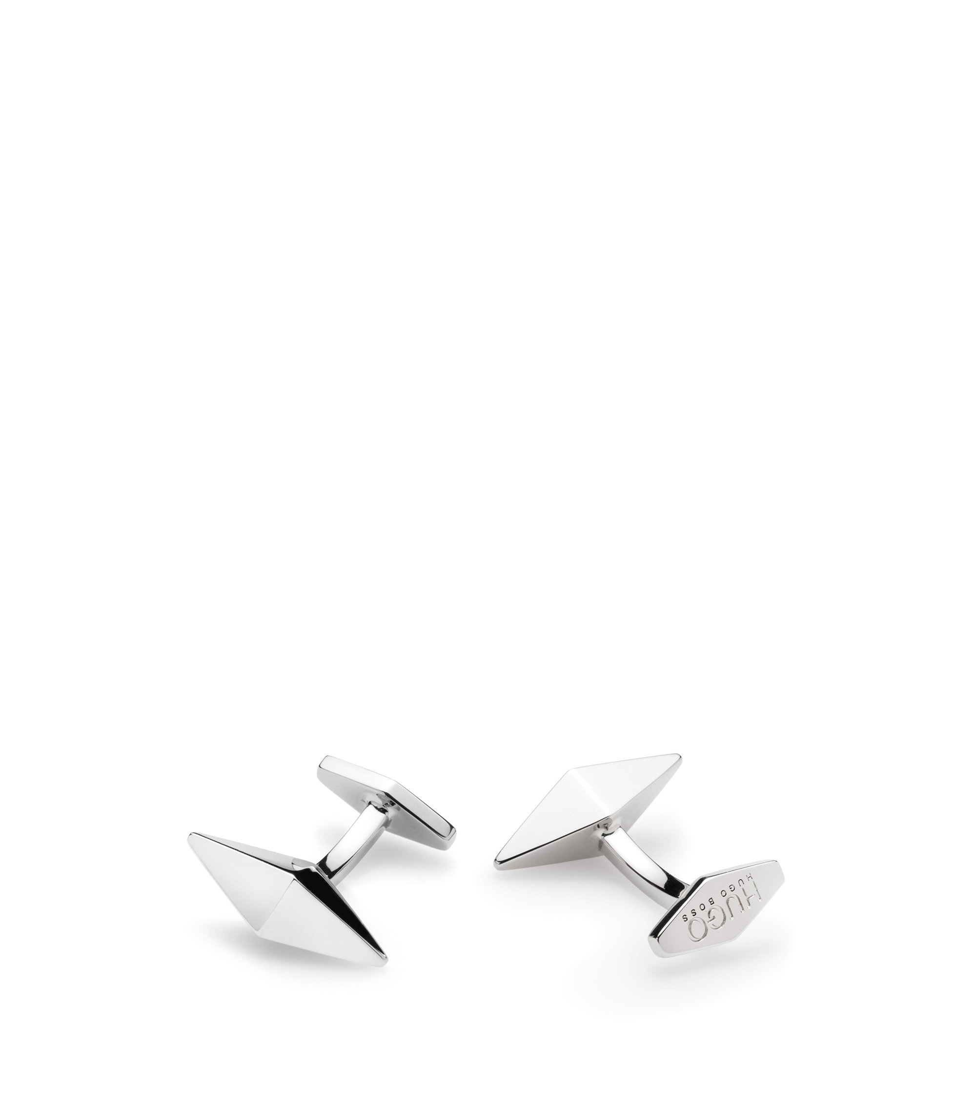 Angular cufflinks in polished brass, Silver