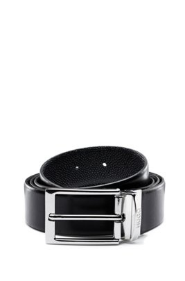 Reversible leather belt with contrast textures, Black