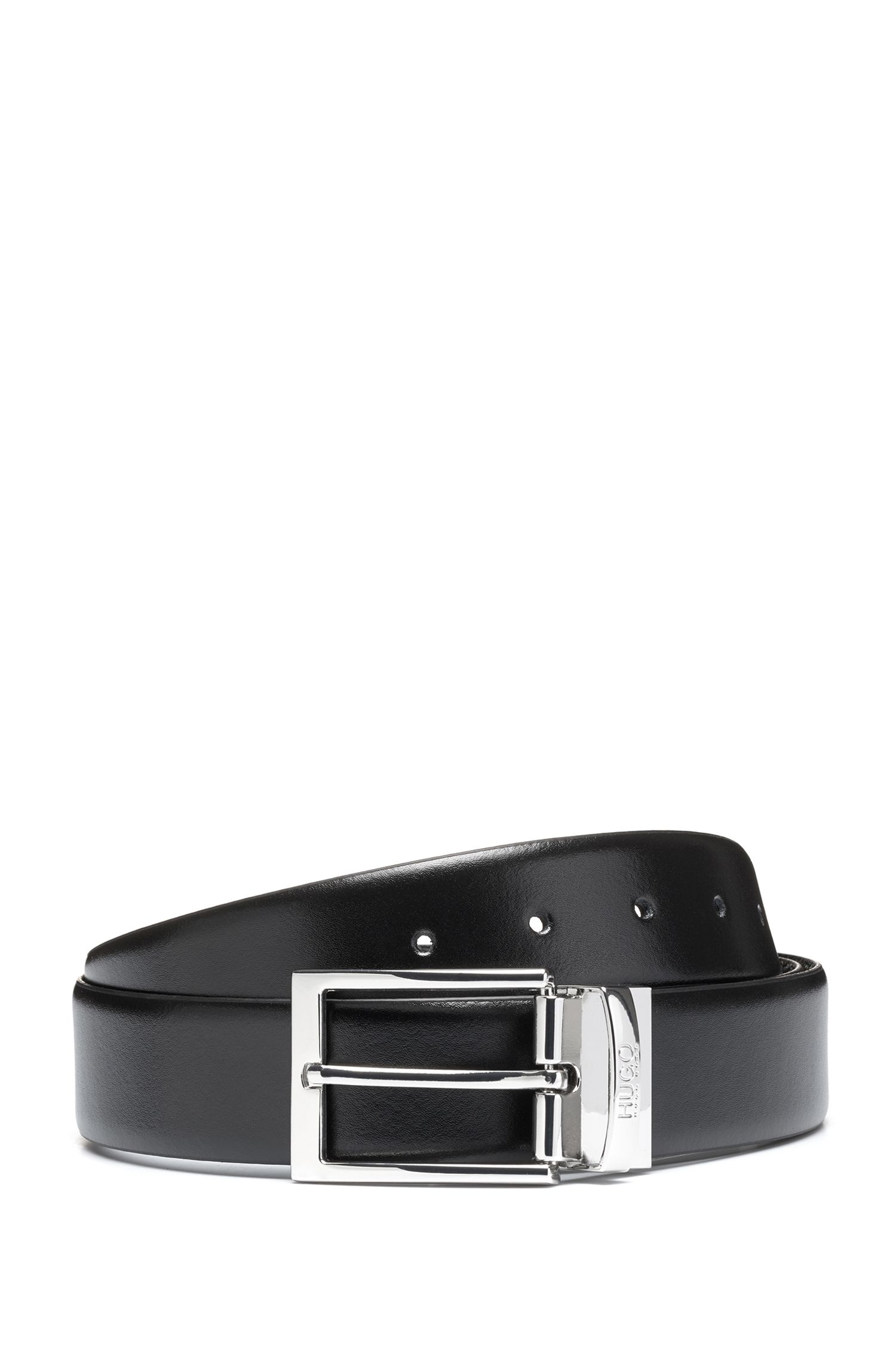 Reversible leather belt with contrast textures
