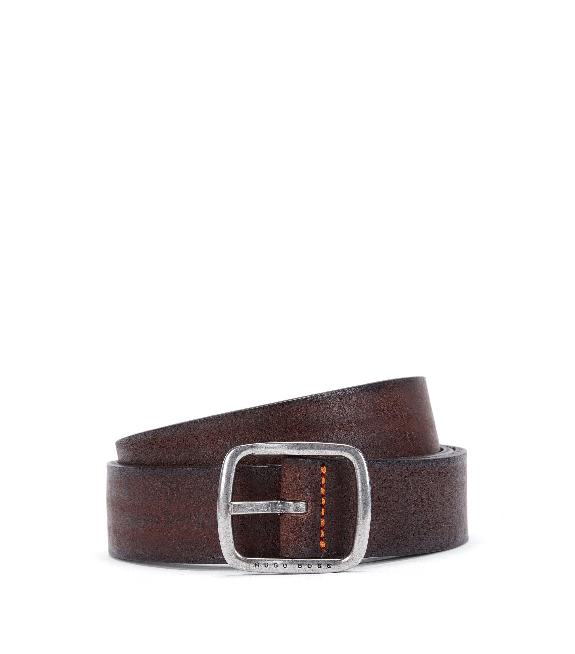 Cintura casual in pelle martellata, Marrone scuro