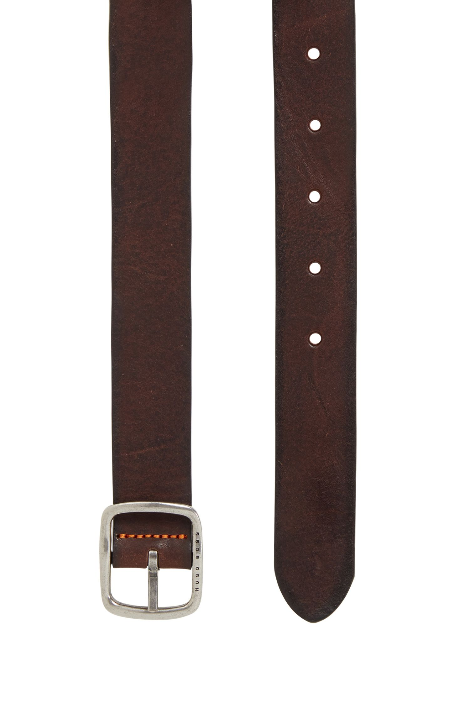 Casual belt in tumbled leather