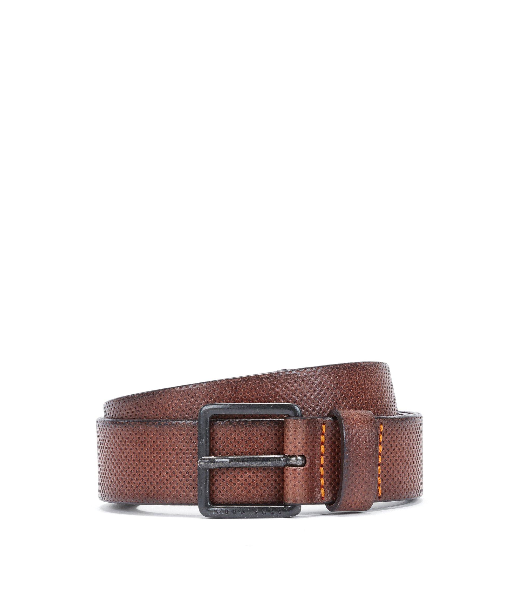 Cintura in pelle goffrata con fibbia in metallo con logo, Marrone scuro