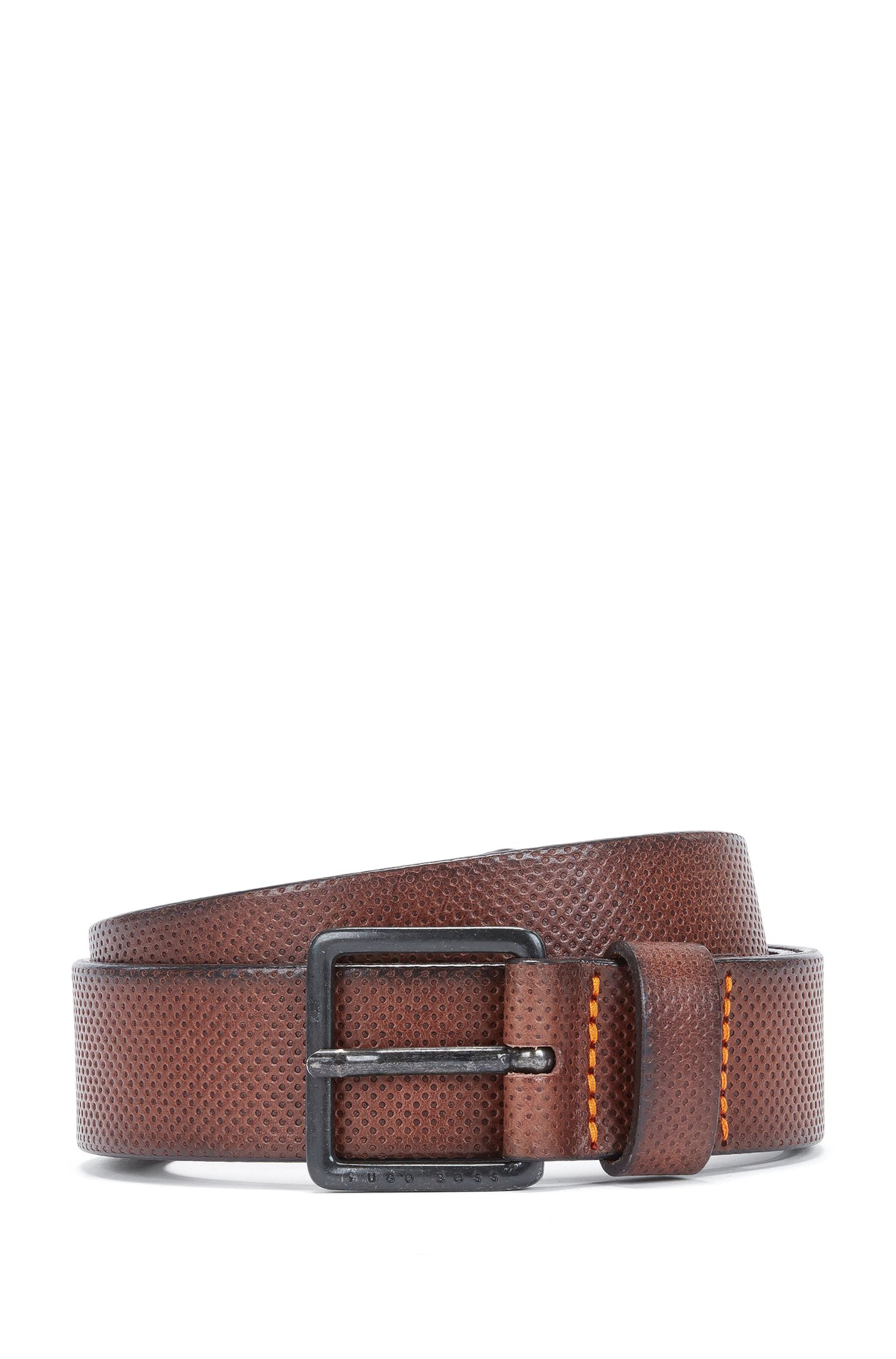 Embossed leather belt with branded metal buckle