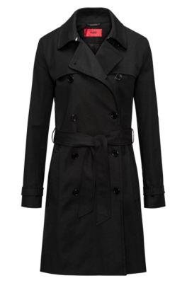 Trench-coat croisé en coton stretch, Noir