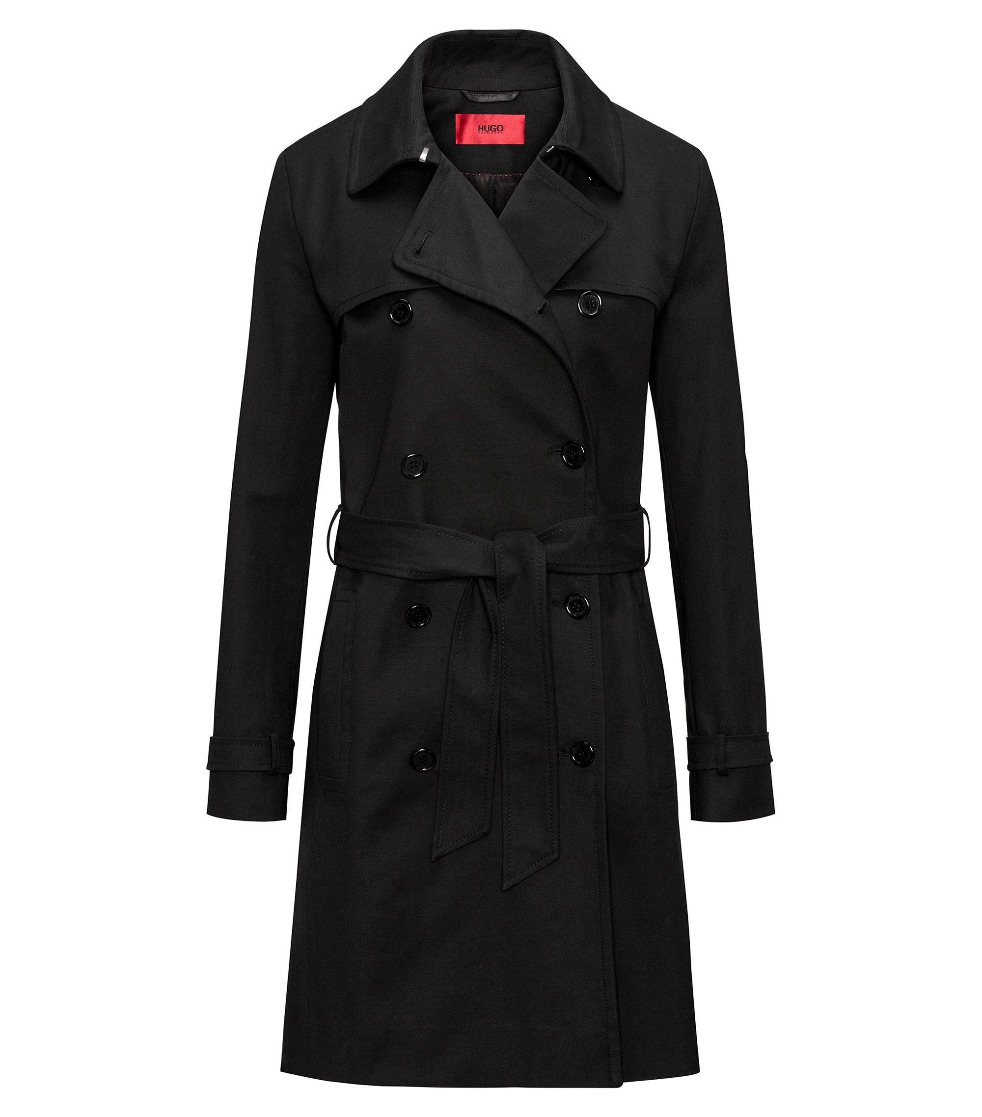Zweireihiger Regular-Fit Trenchcoat aus Stretch-Baumwolle, Schwarz