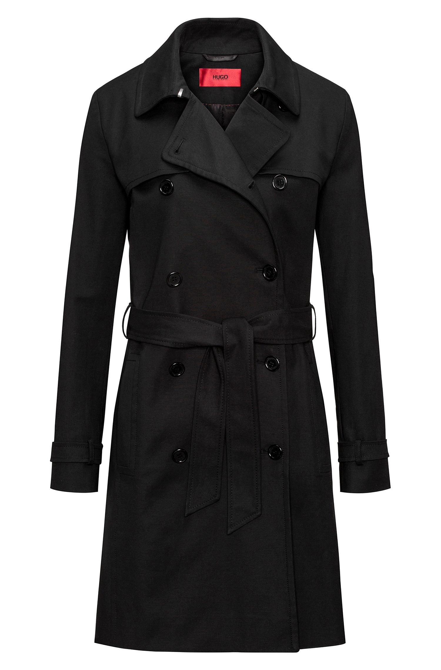 Double-breasted trench coat in stretch cotton