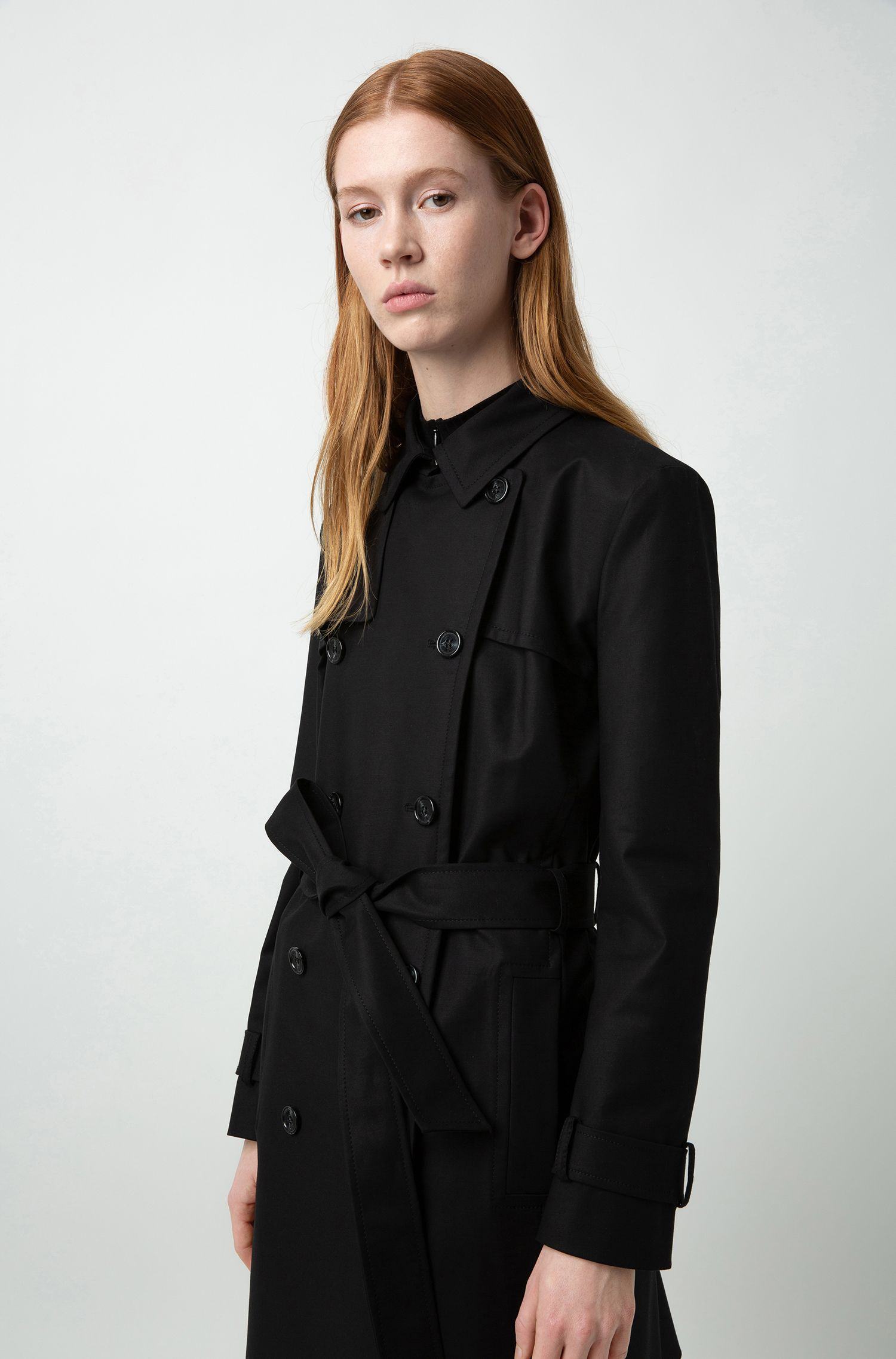 Trench-coat croisé en coton stretch, Noir