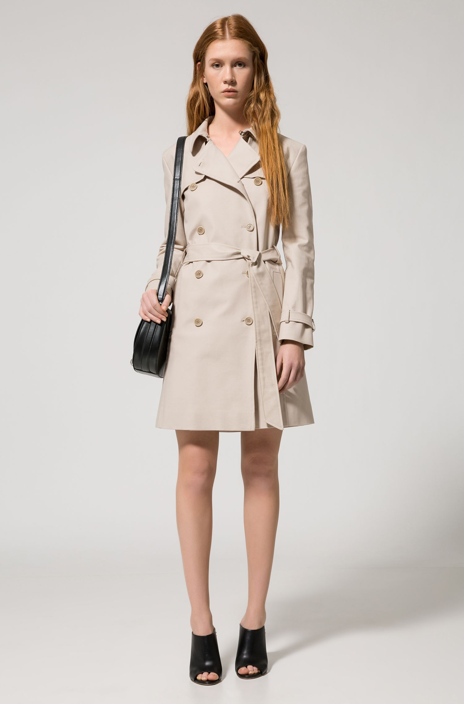 Trench-coat croisé en coton stretch