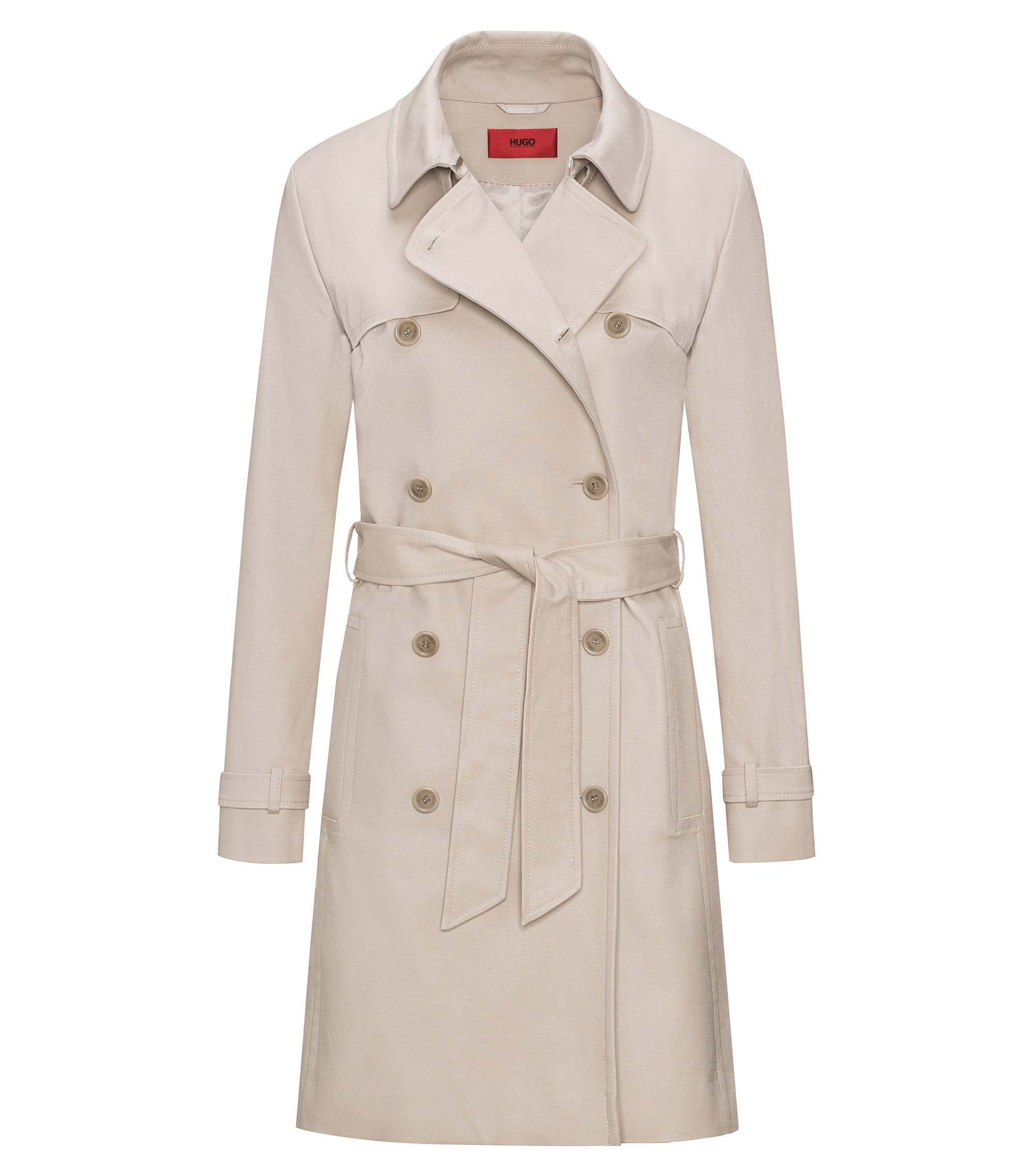 Double-breasted trench coat in stretch cotton, Beige