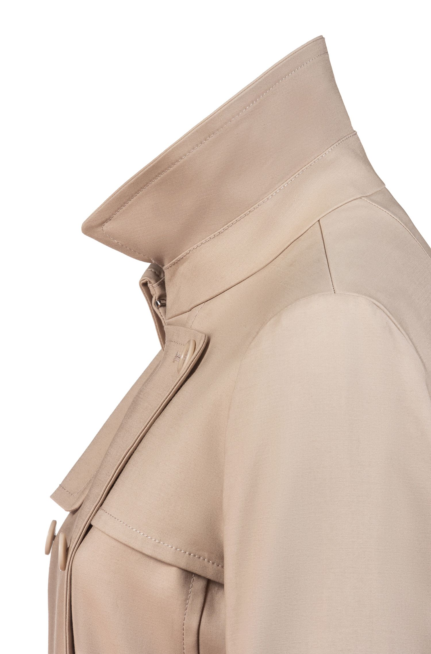 Zweireihiger Regular-Fit Trenchcoat aus Stretch-Baumwolle, Beige