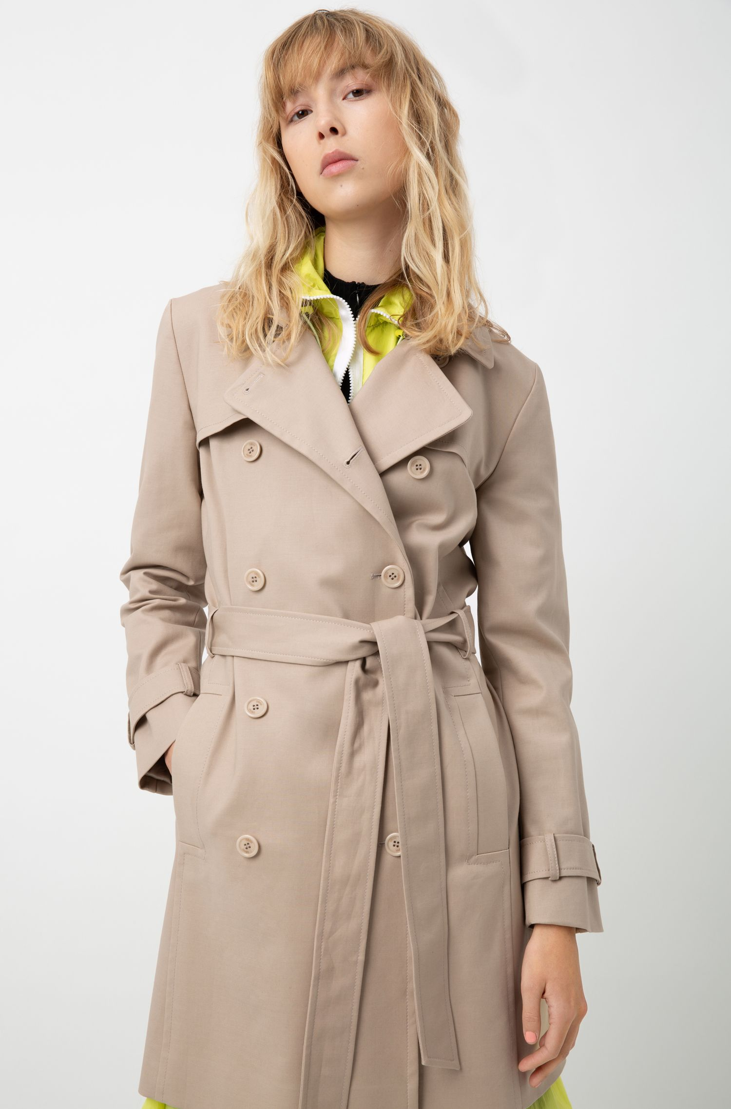 Hugo Boss - Double-breasted trench coat in stretch cotton - 3