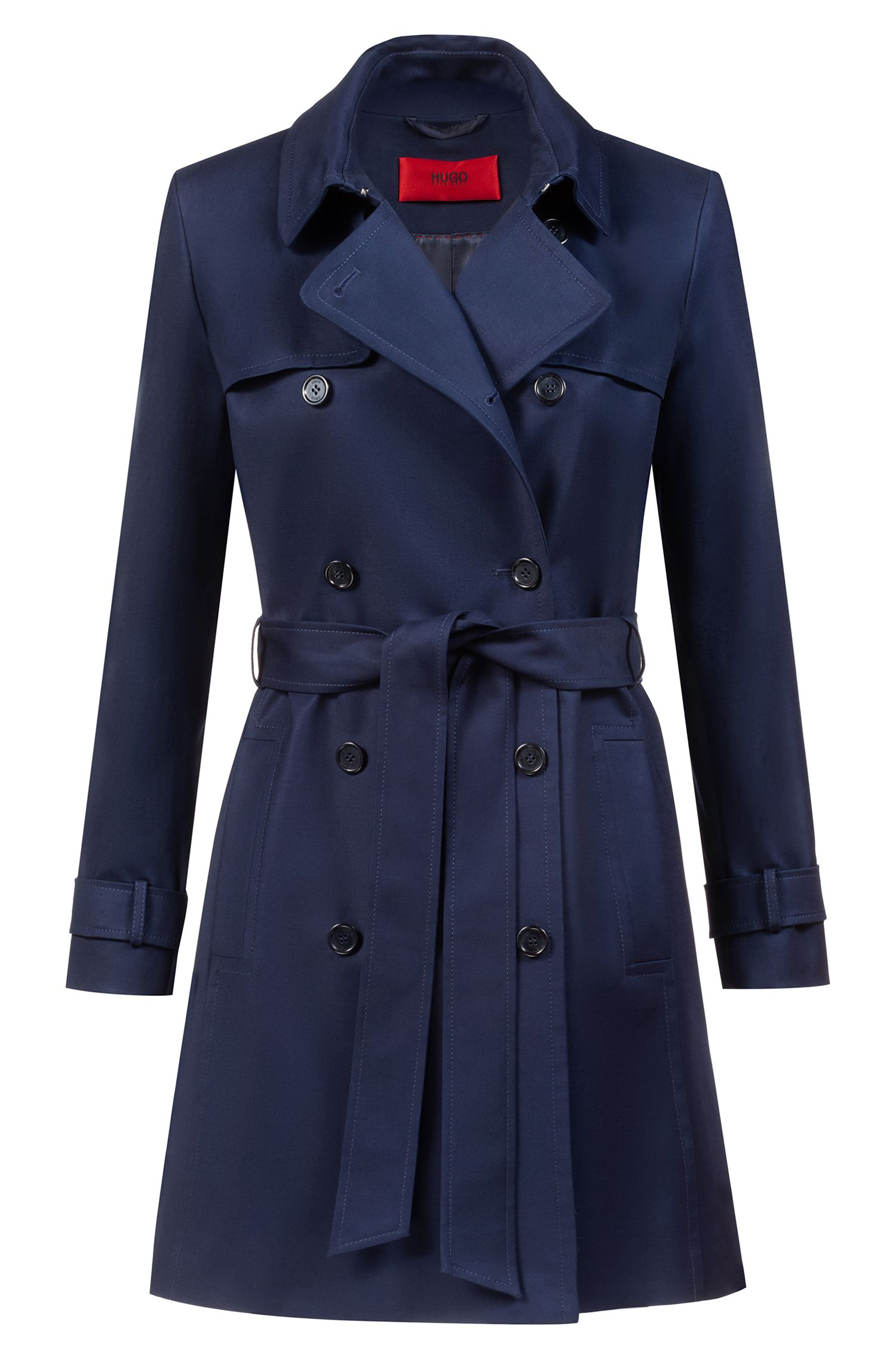 Double-breasted trench coat in stretch cotton, Dark Blue