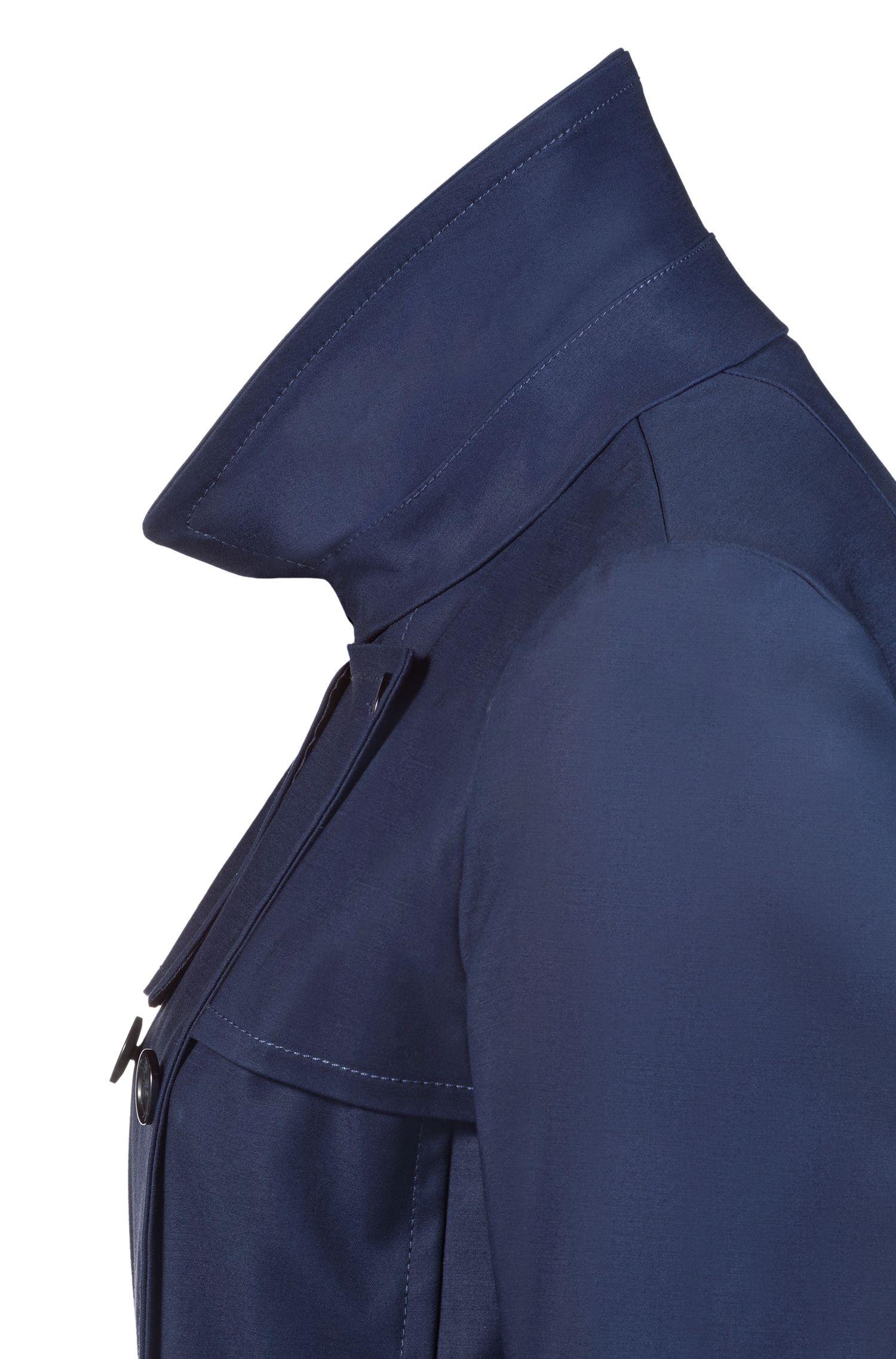 Gabardina cruzada en algodón elástico, Azul oscuro