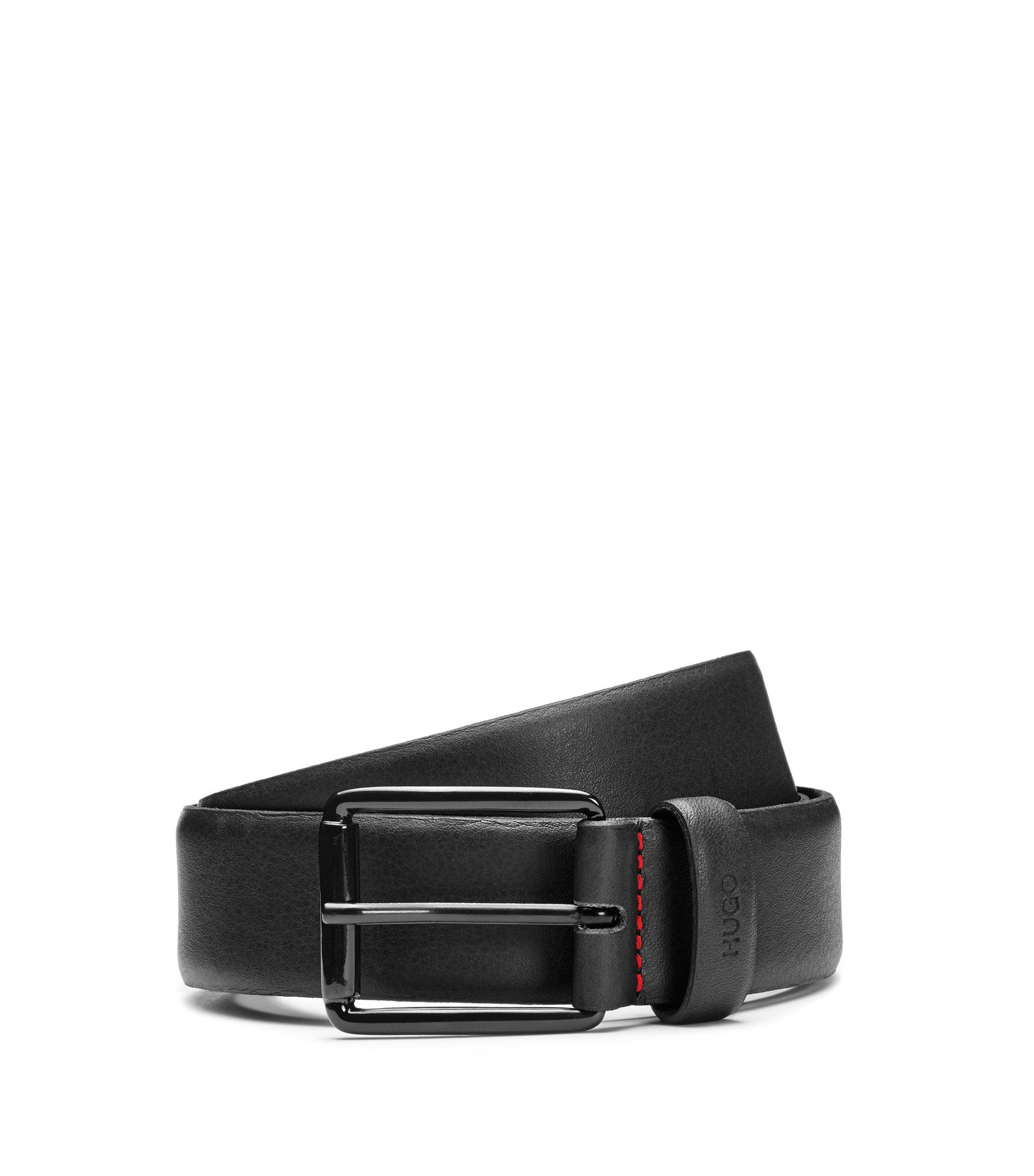 Cinturón de piel grabada con hebilla negra barnizada, Negro