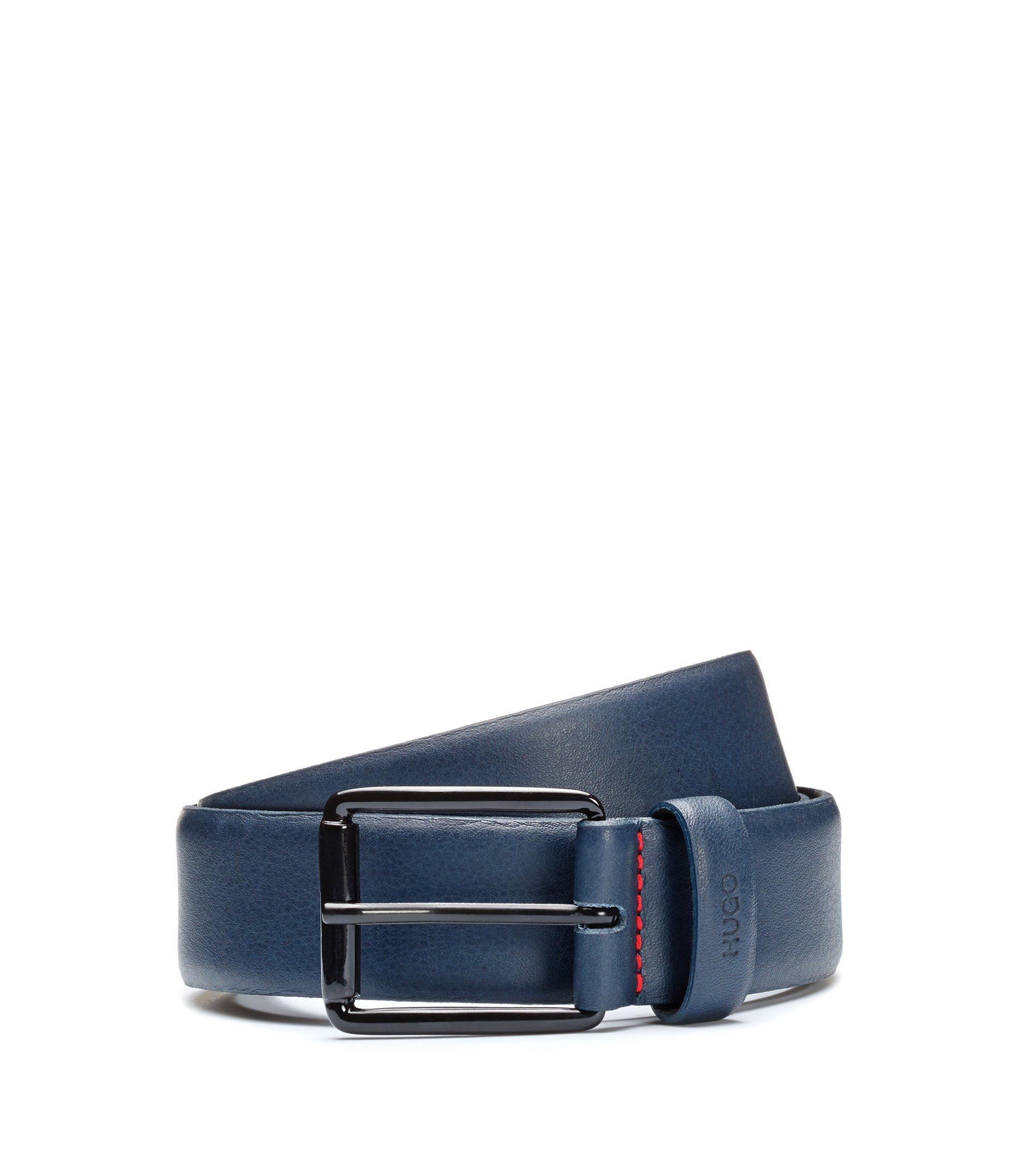 Leather belt with black varnished buckle, Dark Blue