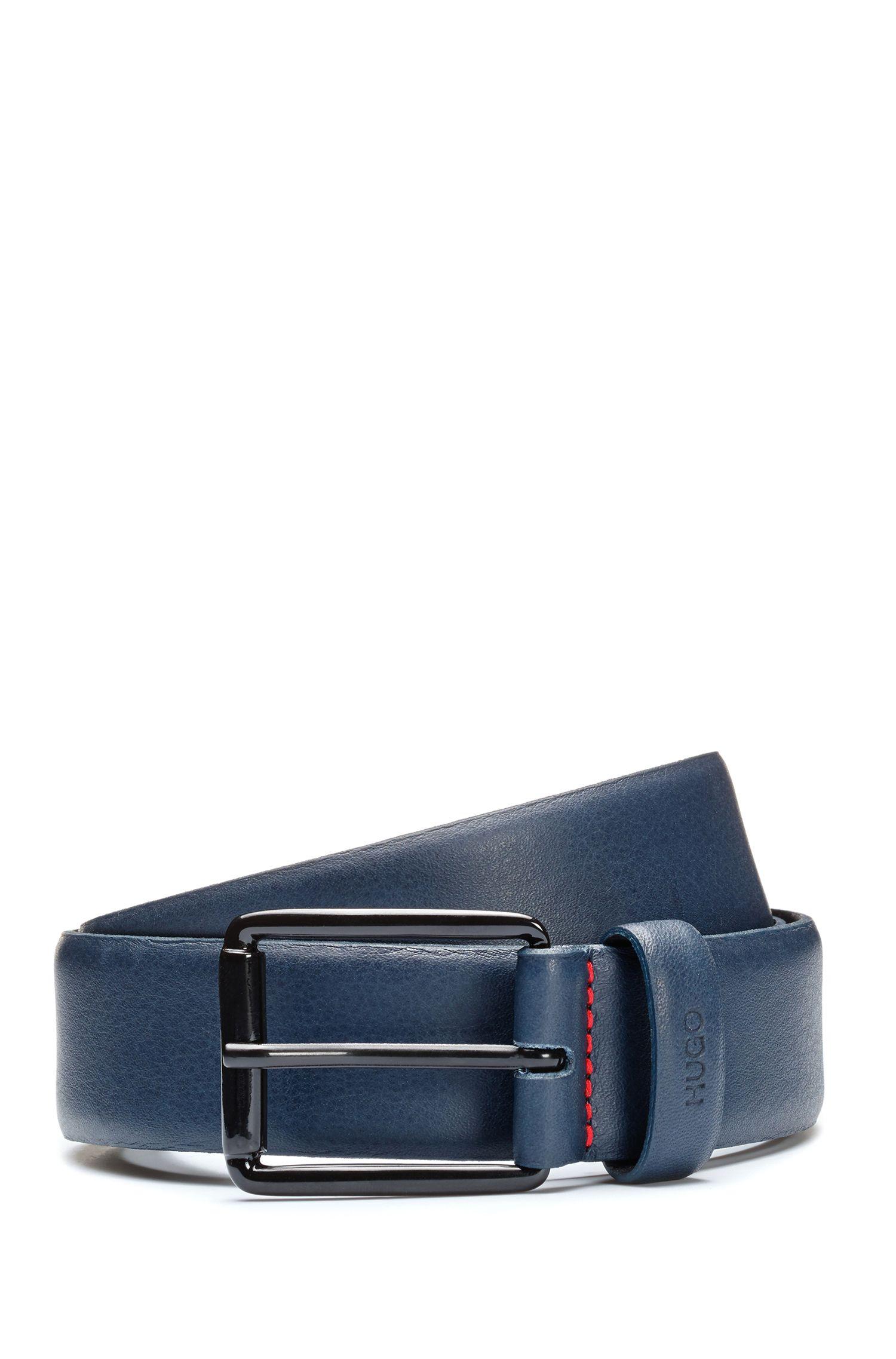 Leather belt with black varnished buckle