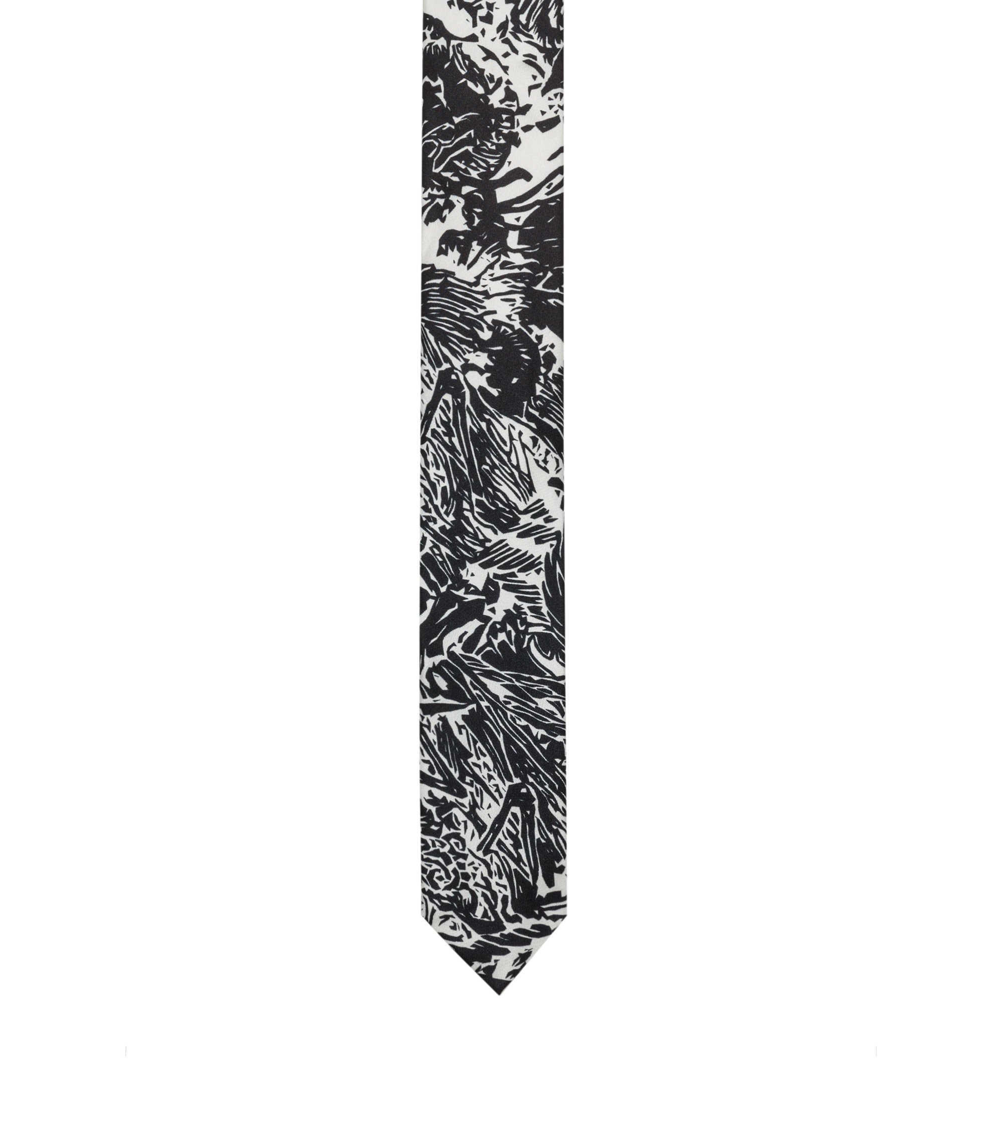 Straight-cut tie in printed silk twill, Black