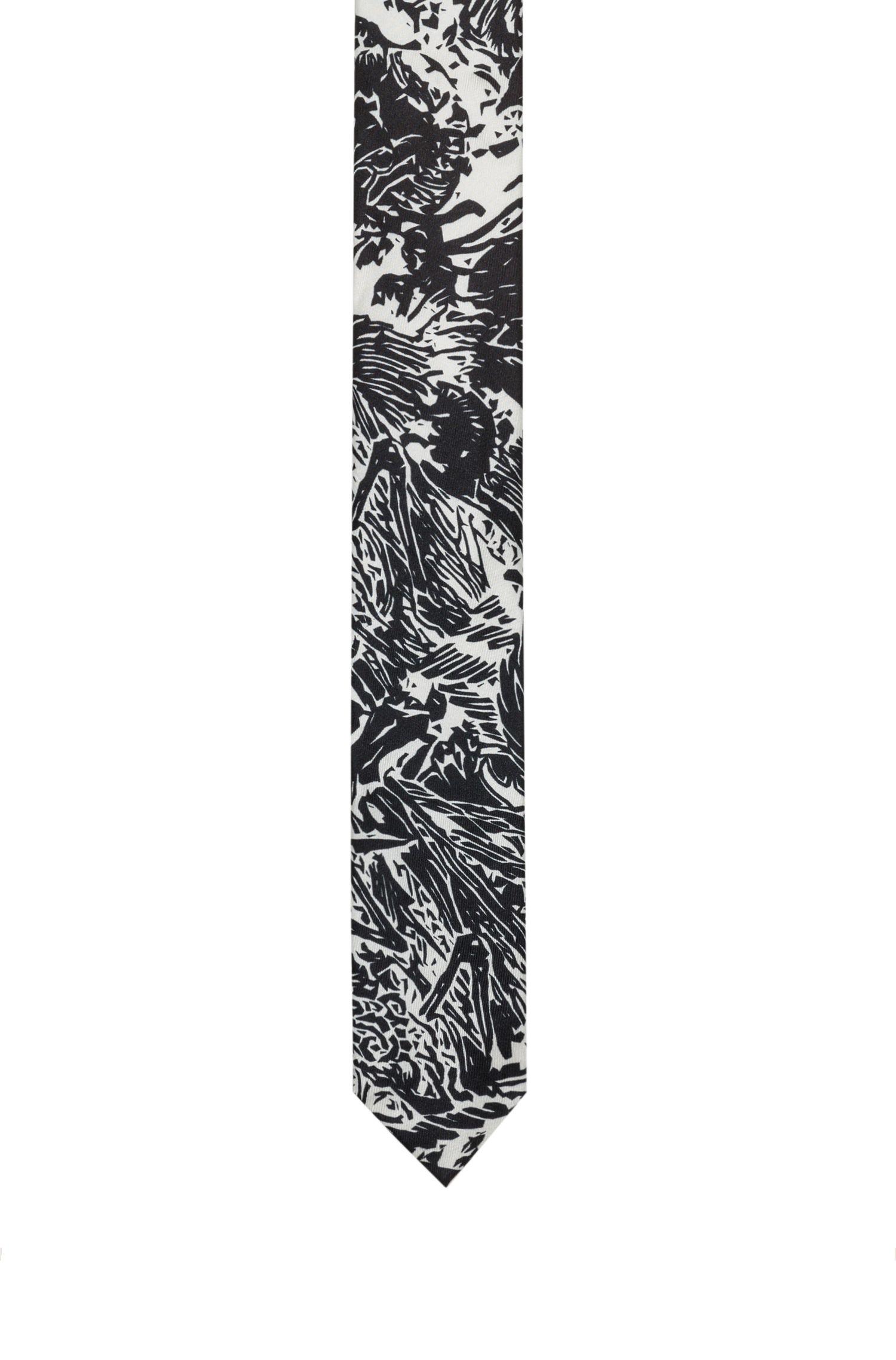 Cravate droite en twill de soie à imprimé