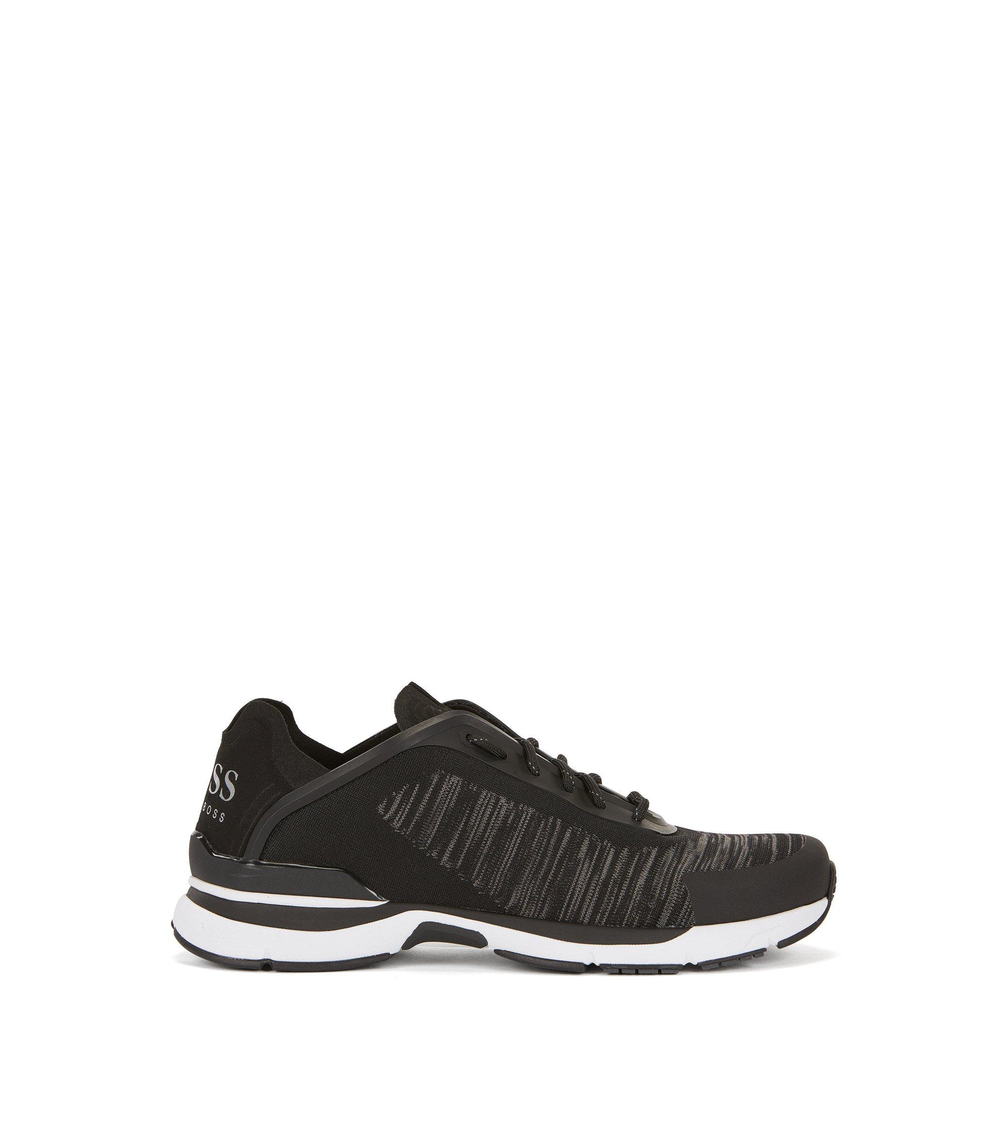 Sneakers in stile runner con tomaia in maglia jacquard, Grigio scuro