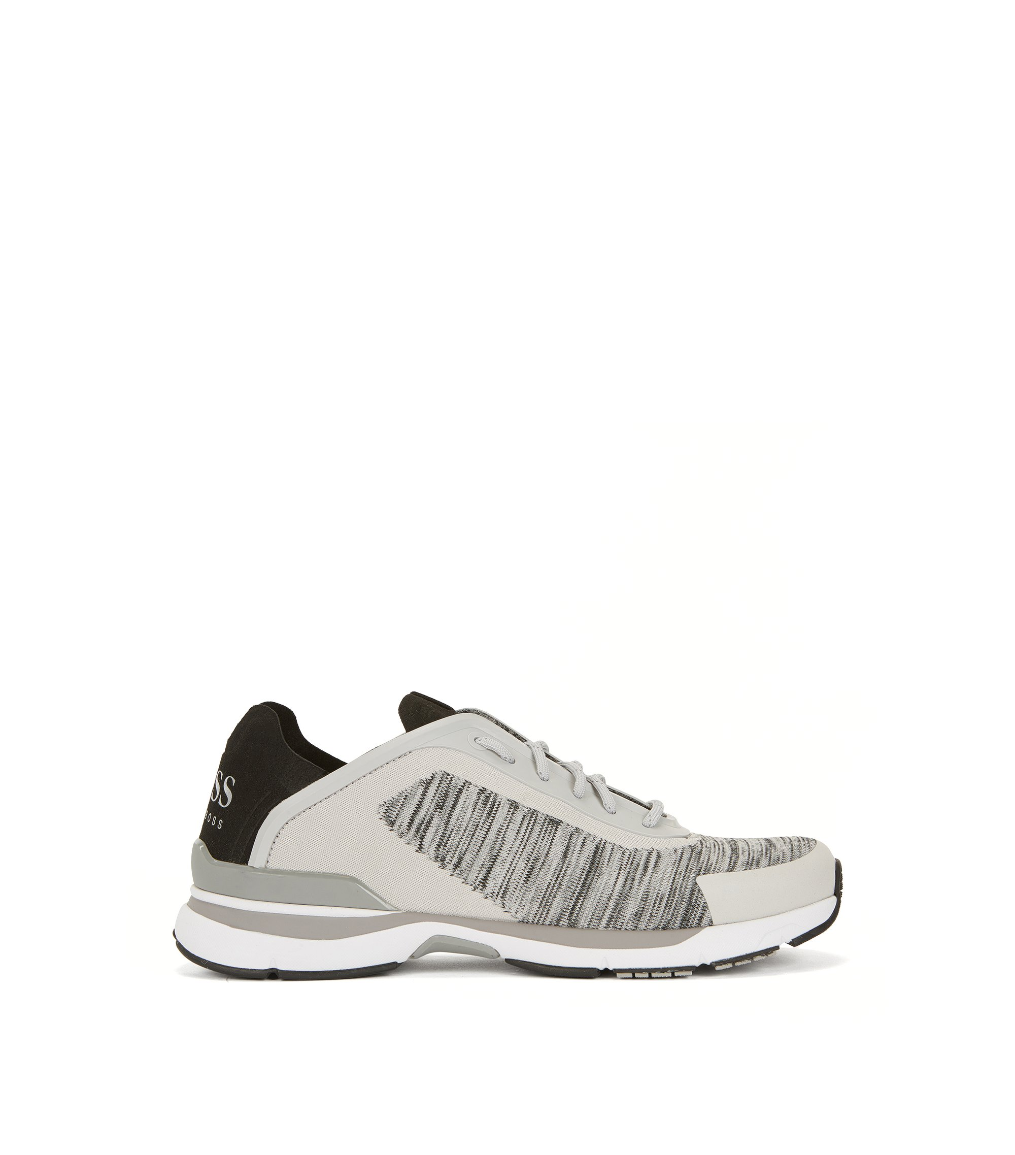 Running-inspired trainers with jacquard-knit uppers, Light Grey