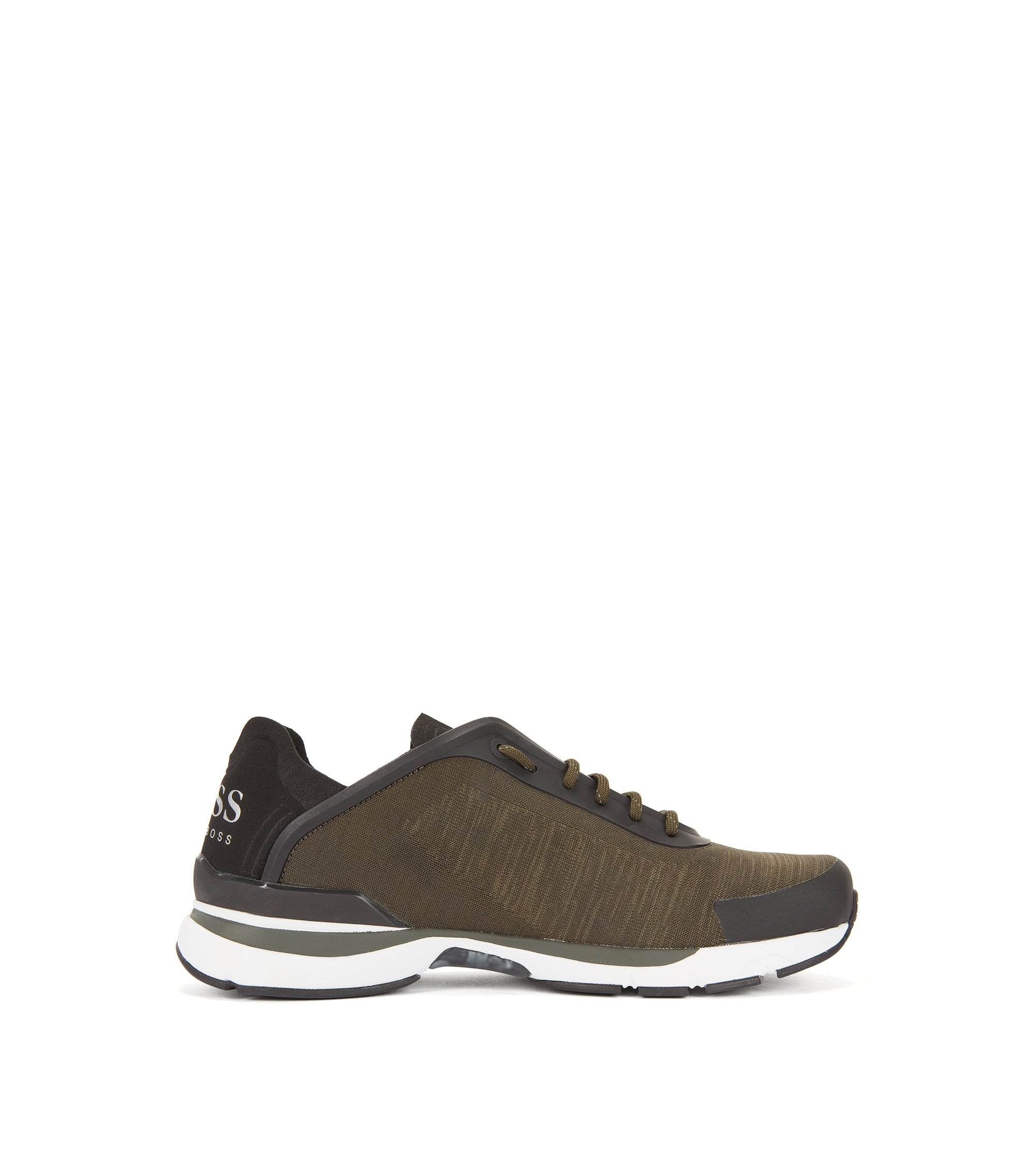 Running-inspired trainers with jacquard-knit uppers, Dark Green