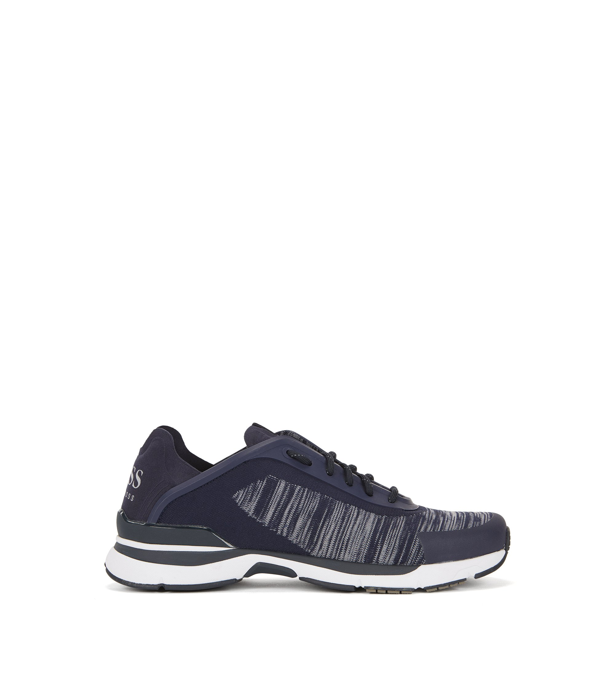 Running-inspired trainers with jacquard-knit uppers, Dark Blue