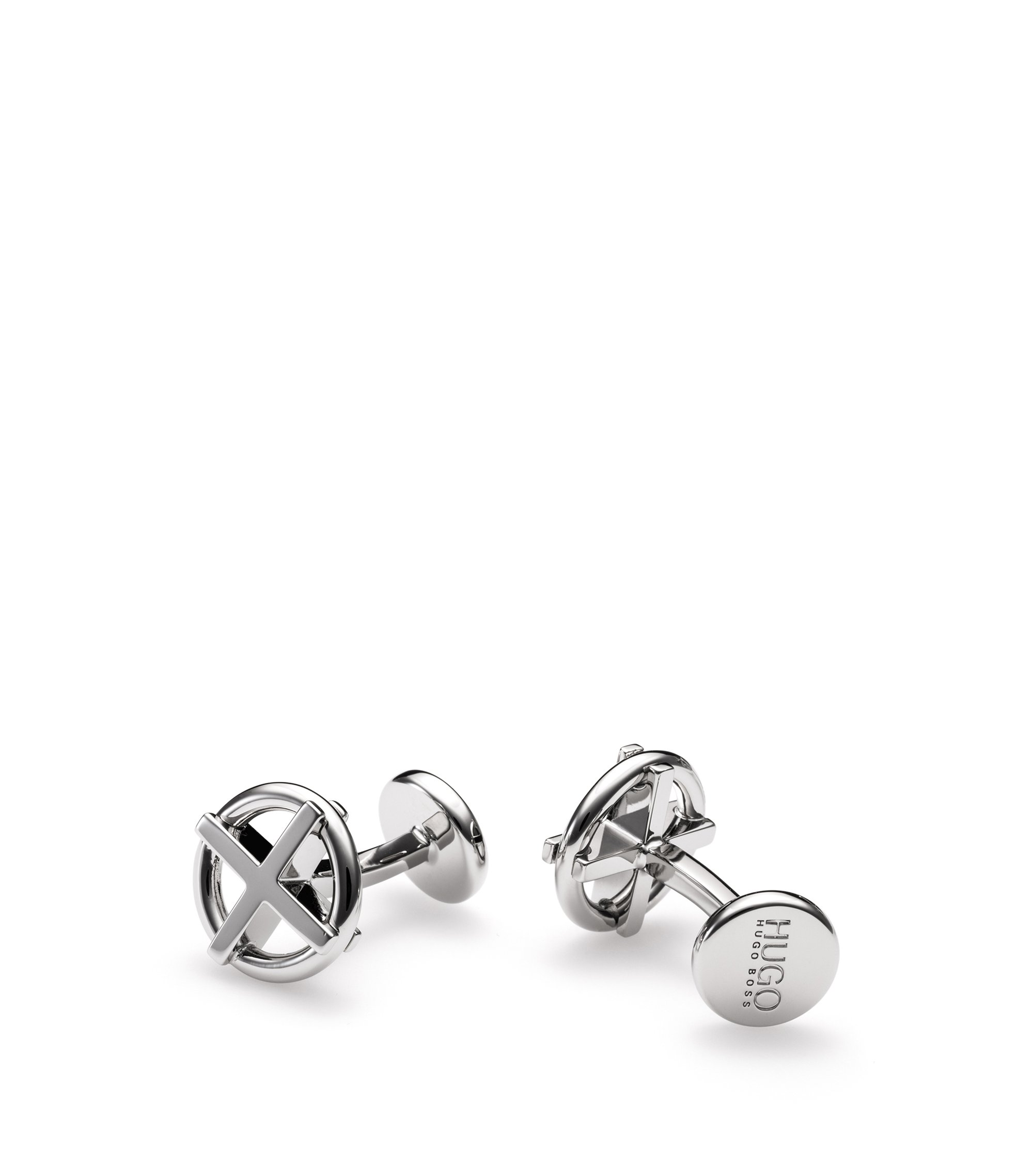 Cross-ring cufflinks in polished brass, Silver