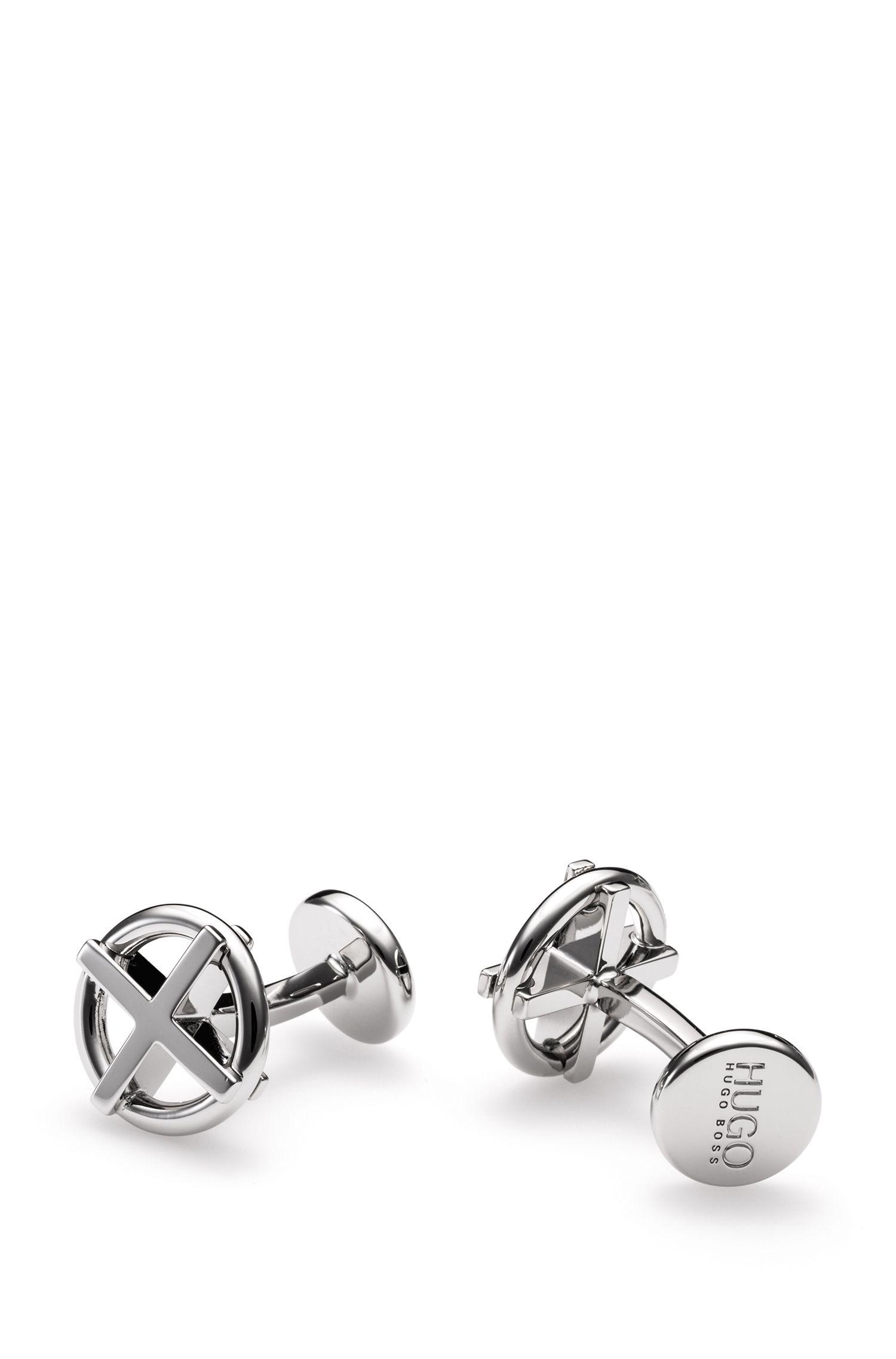 Ringvormige manchetknopen met kruisje van gepolijst messing