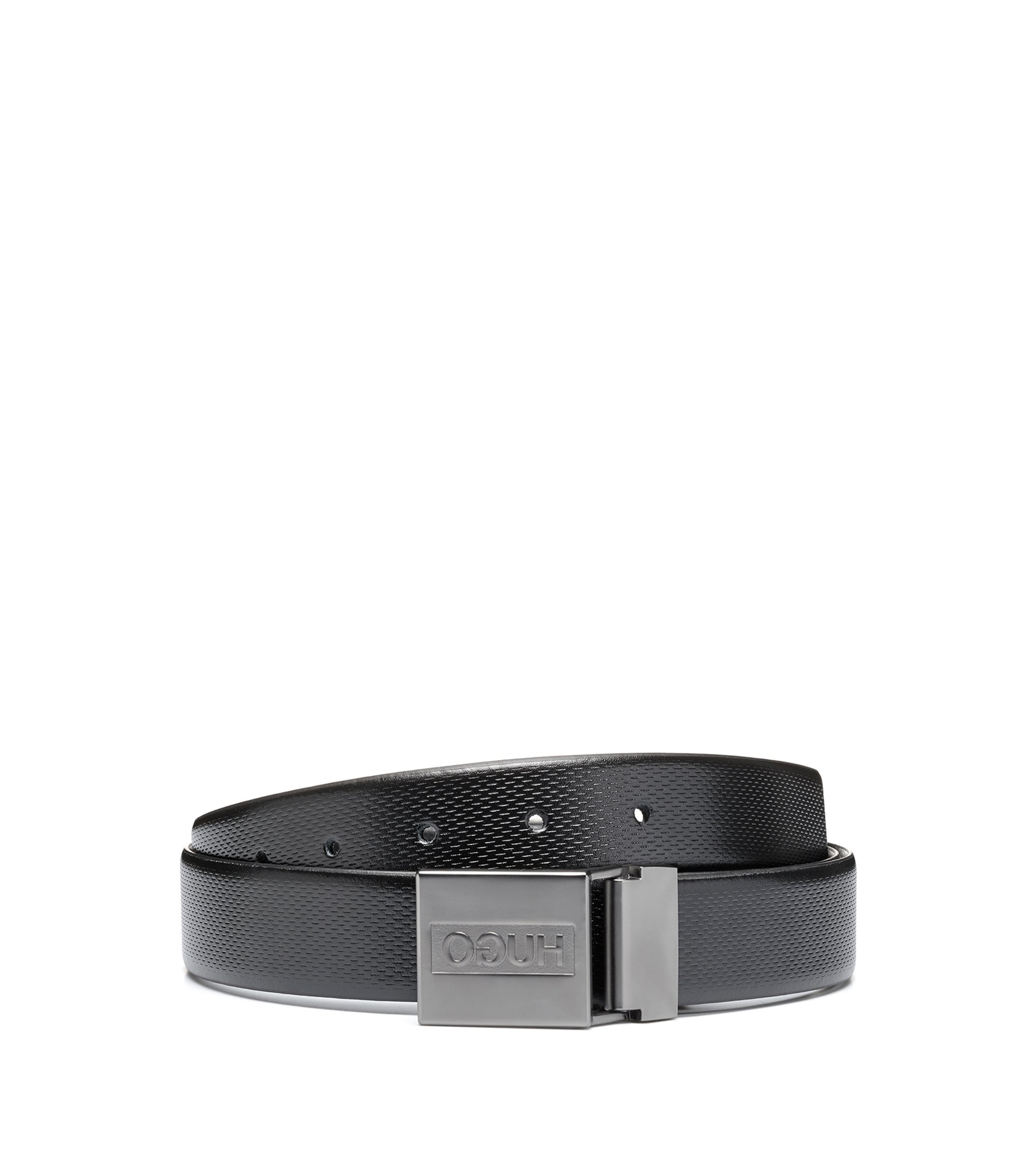 Double-buckle reversible leather belt in a gift box, Black