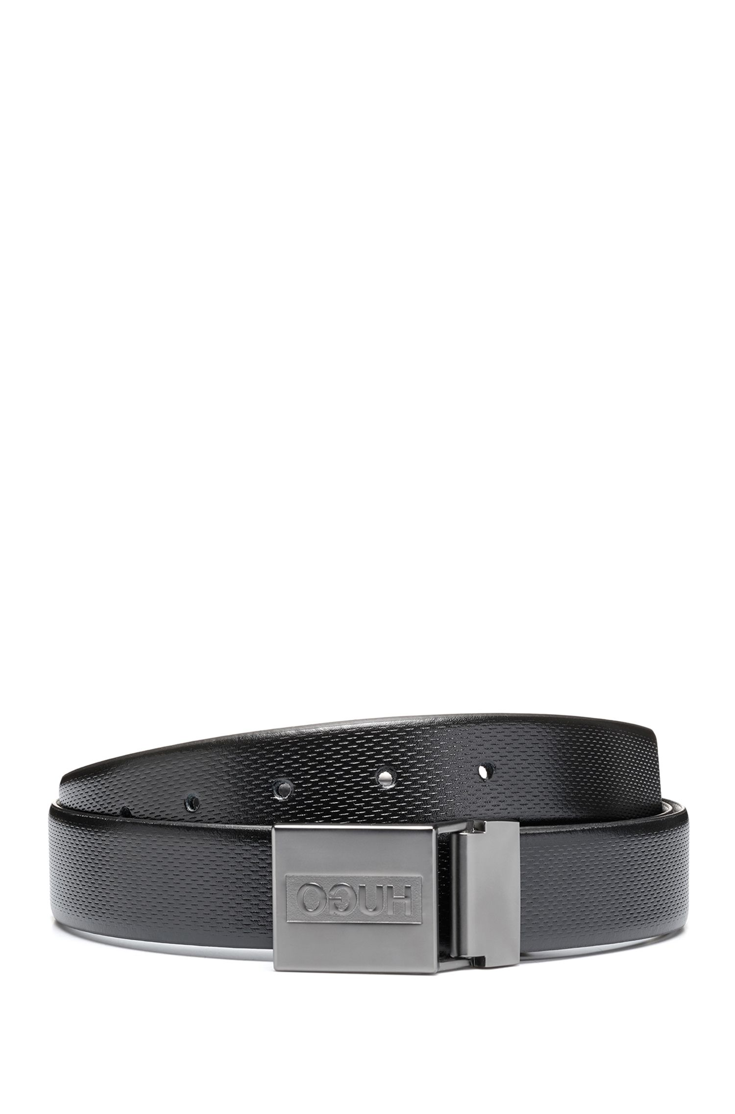 Cinturón reversible de piel con hebilla doble y caja de regalo