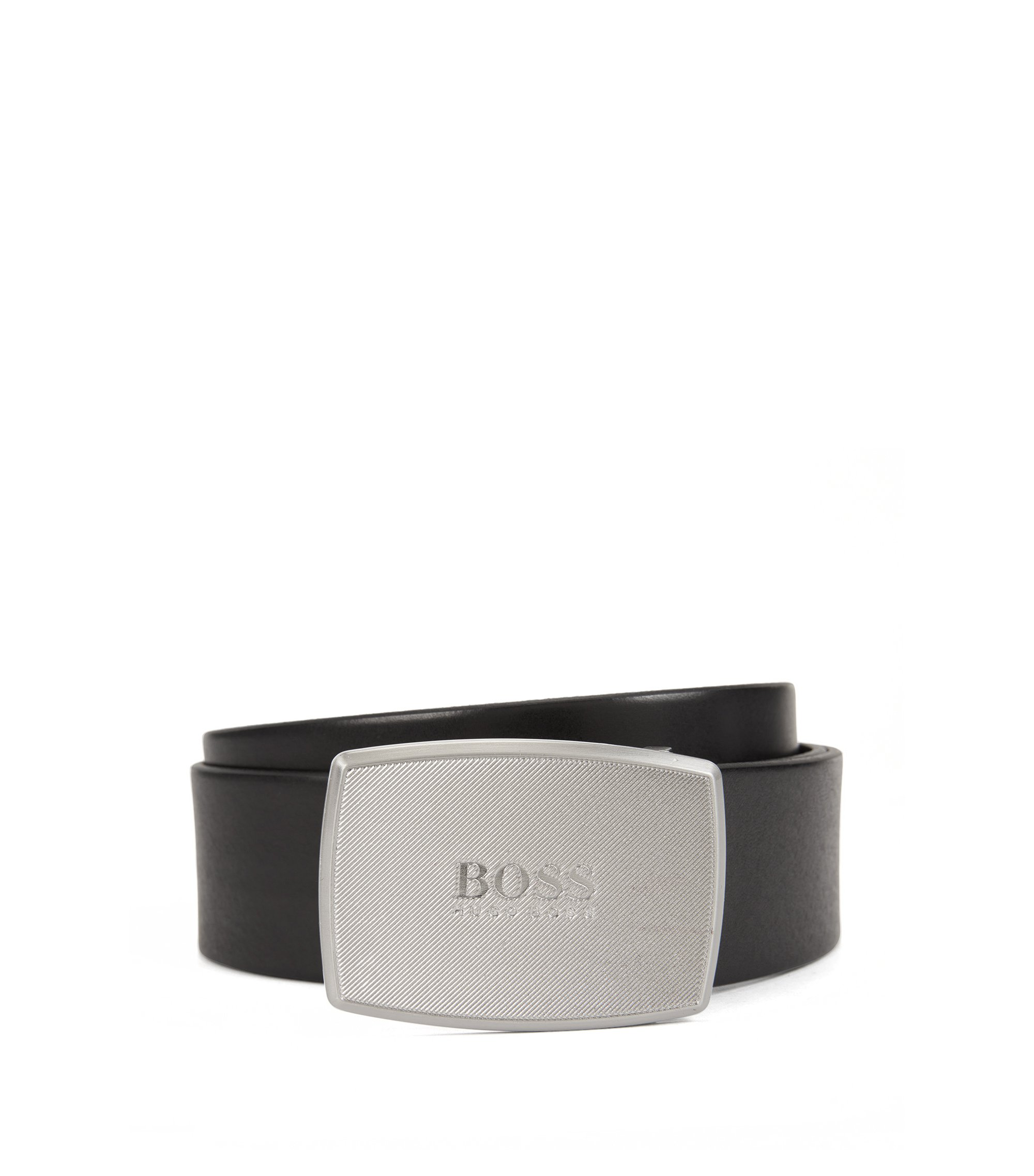 Smooth leather belt with textured plaque buckle, Black
